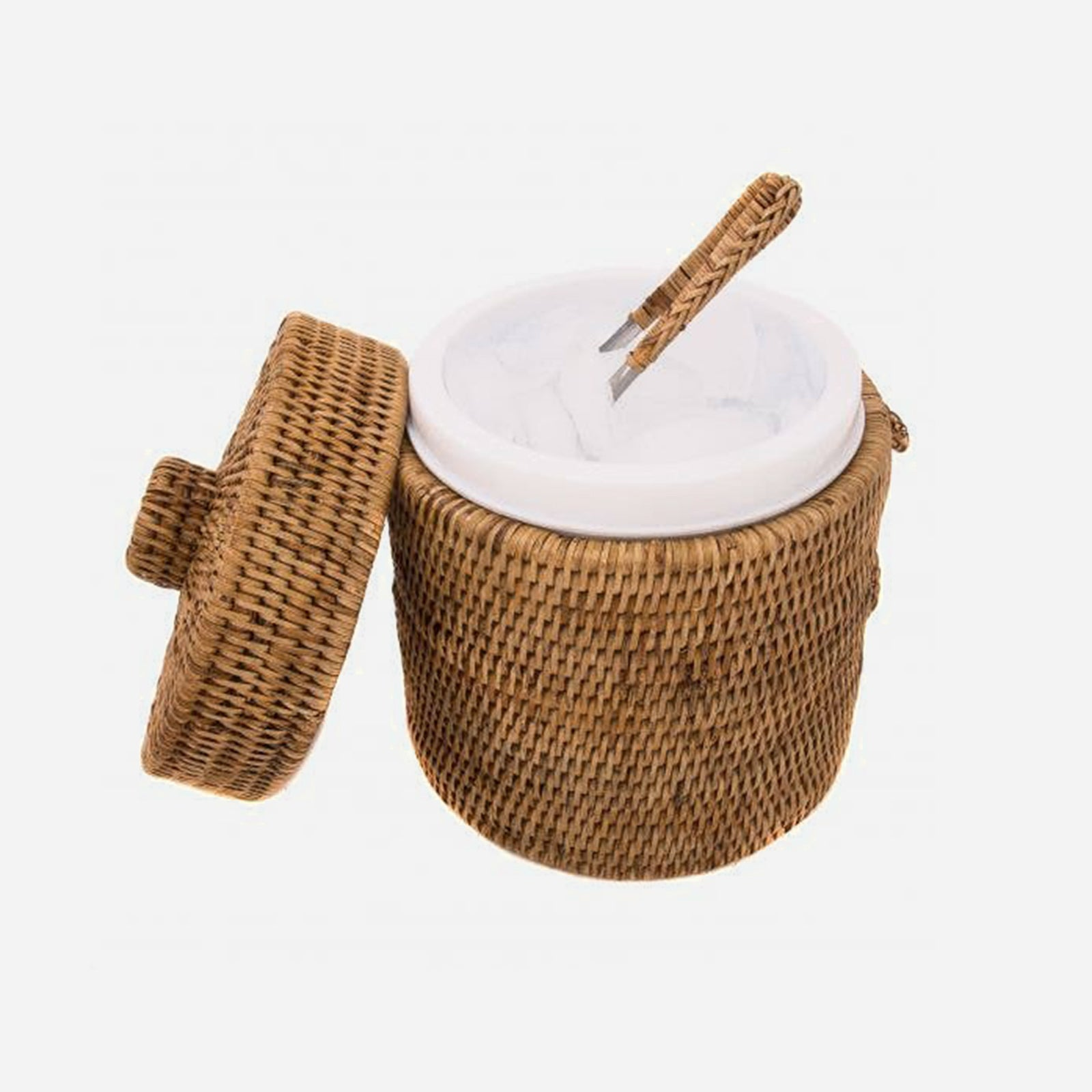 Rattan Ice Bucket and Tong Set