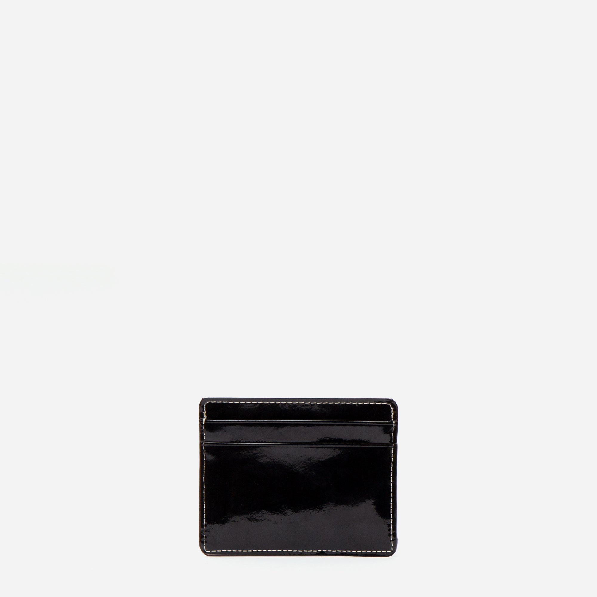 ID Card Case Soft Patent Black Oyster