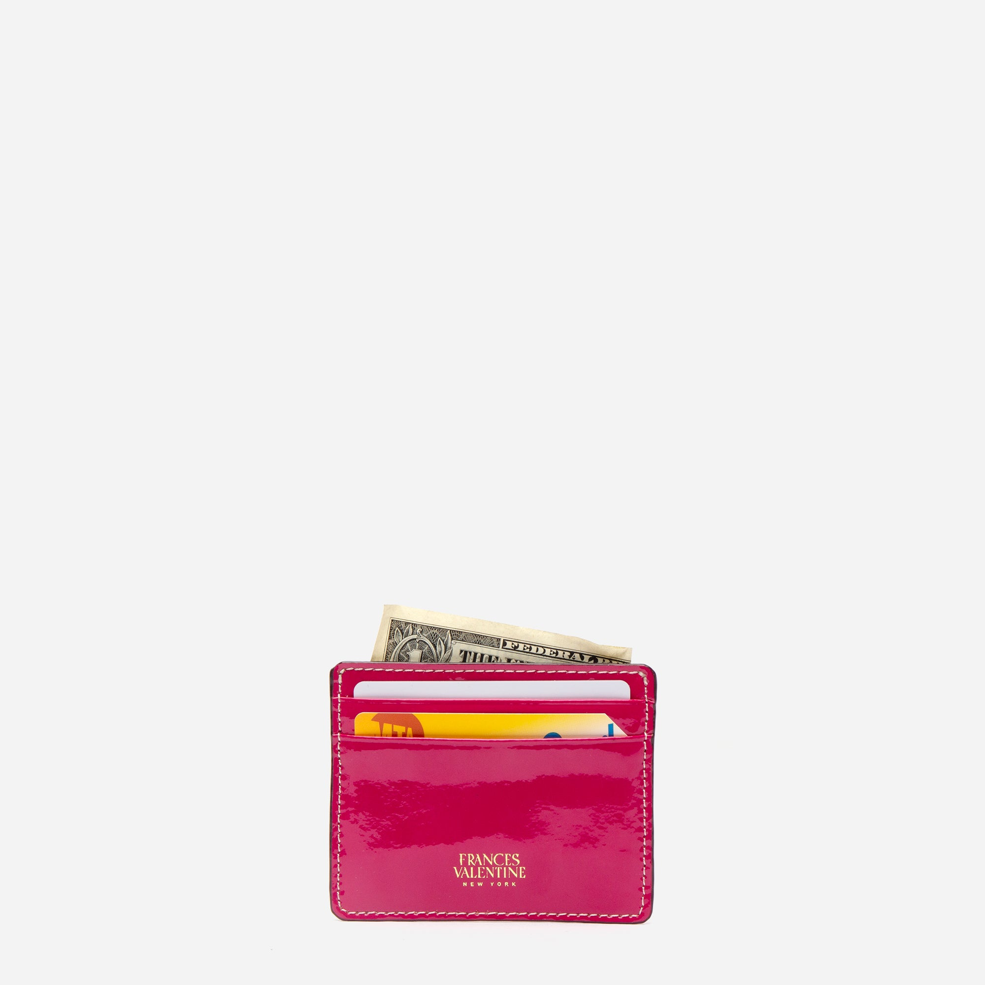 ID Card Case Soft Patent Pink Oyster