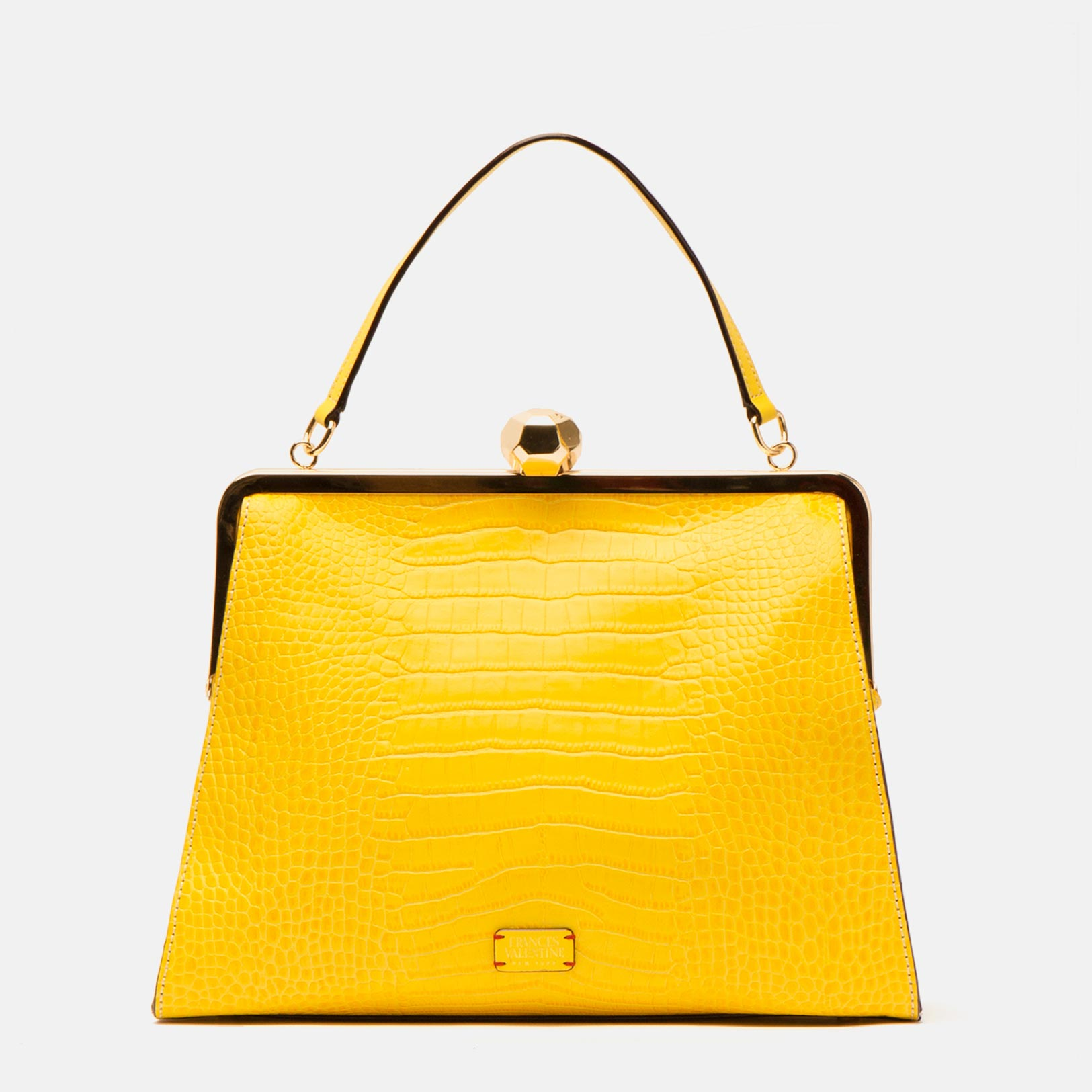 Jackie Croc Embossed Leather Yellow - Frances Valentine