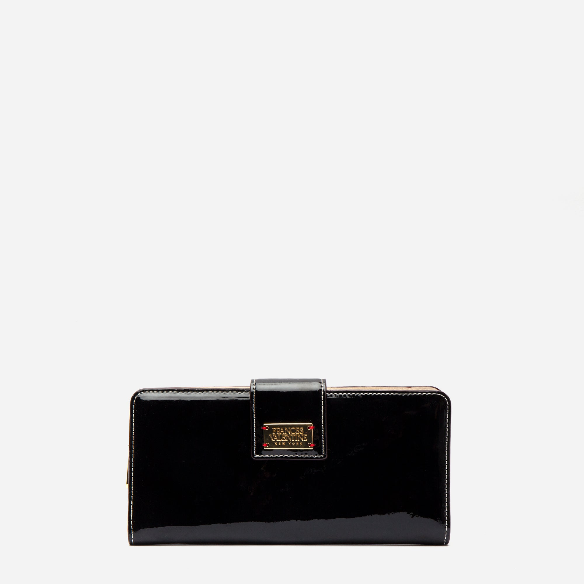 Jefferson Slim Wallet Soft Patent Black Oyster - Frances Valentine