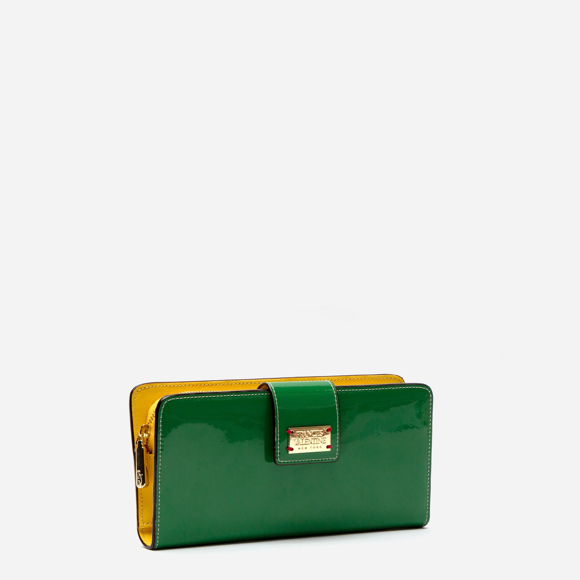Jefferson Slim Wallet Soft Patent Green Yellow