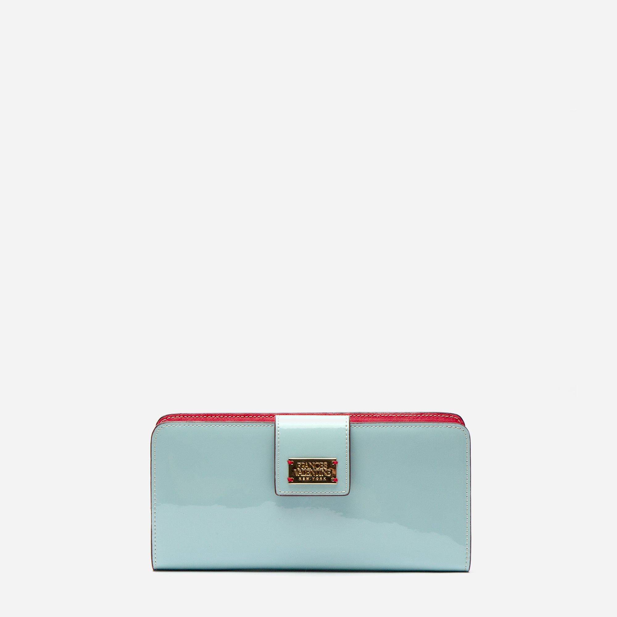 Jefferson Slim Wallet Soft Patent Light Blue Red