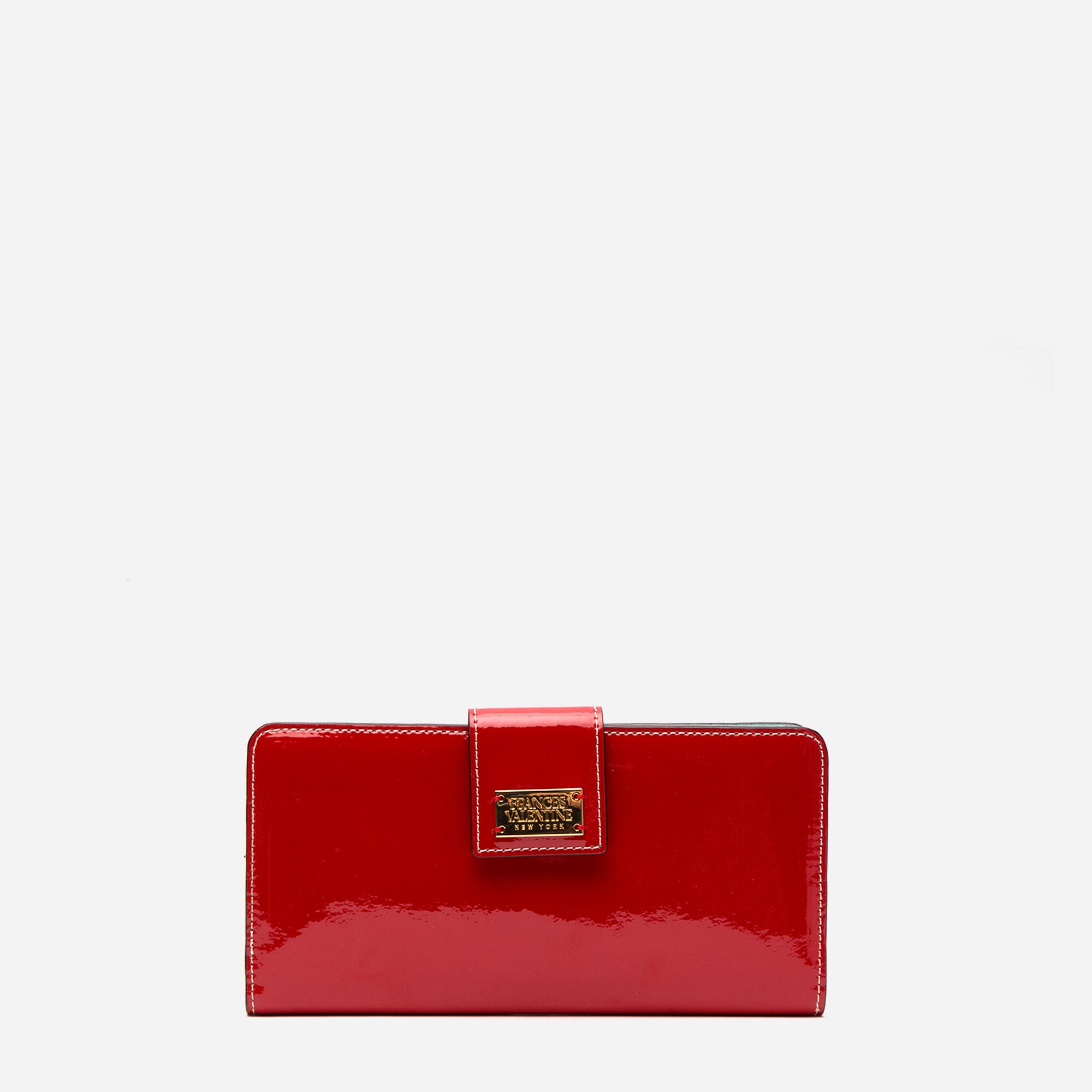 Jefferson Slim Wallet Soft Patent Red Light Blue