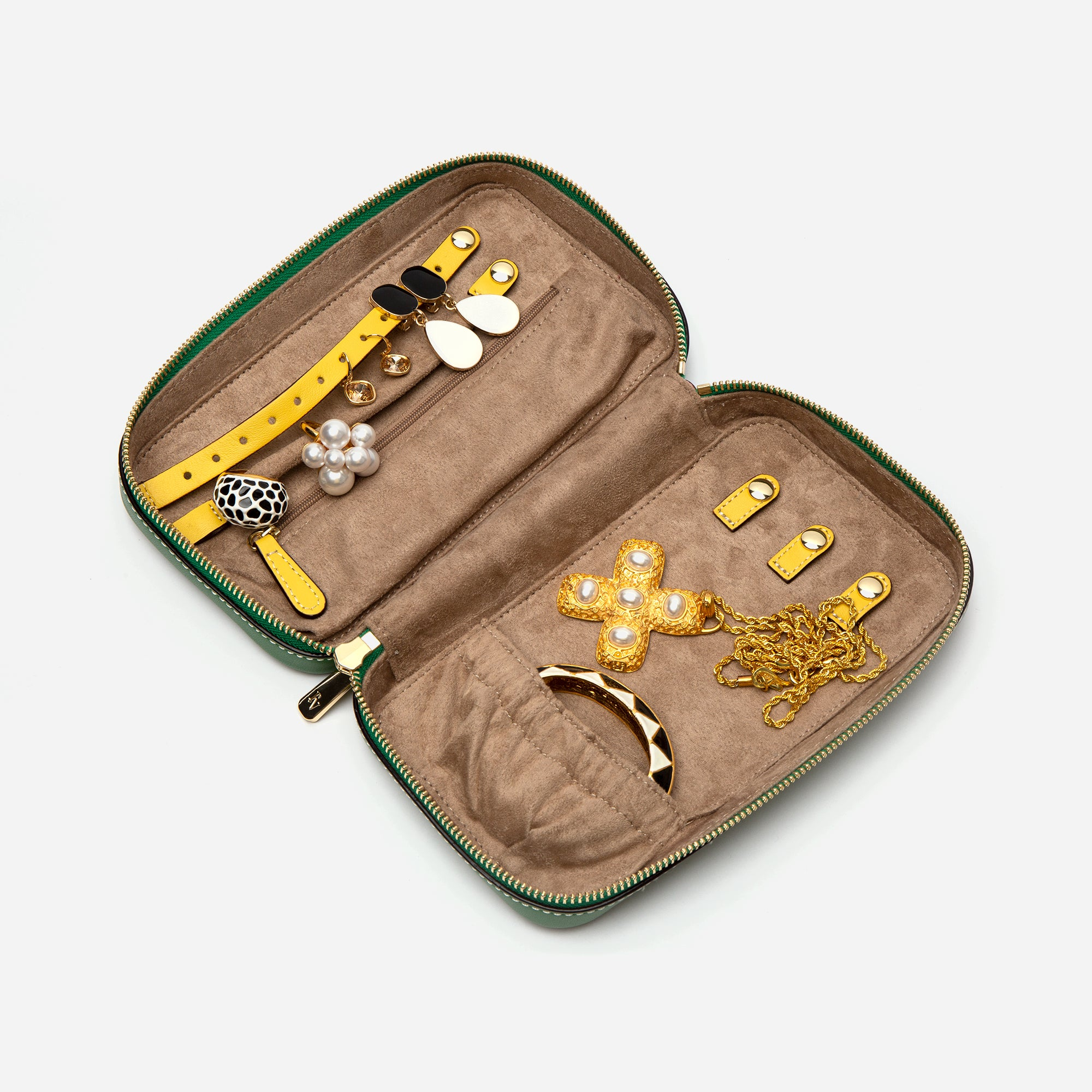 Jewelry Case Soft Patent Green Yellow