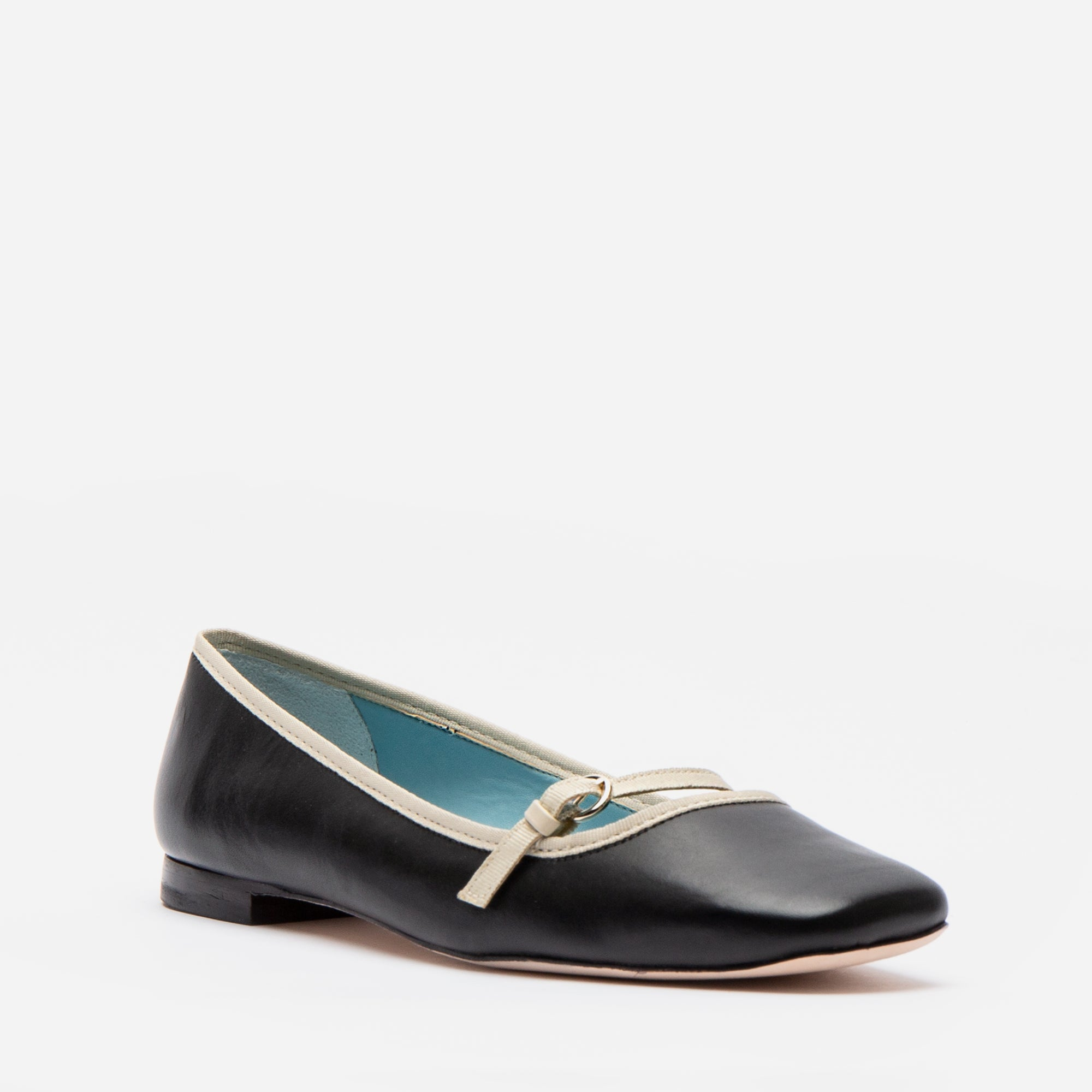 Josie Leather Flats Black Oyster