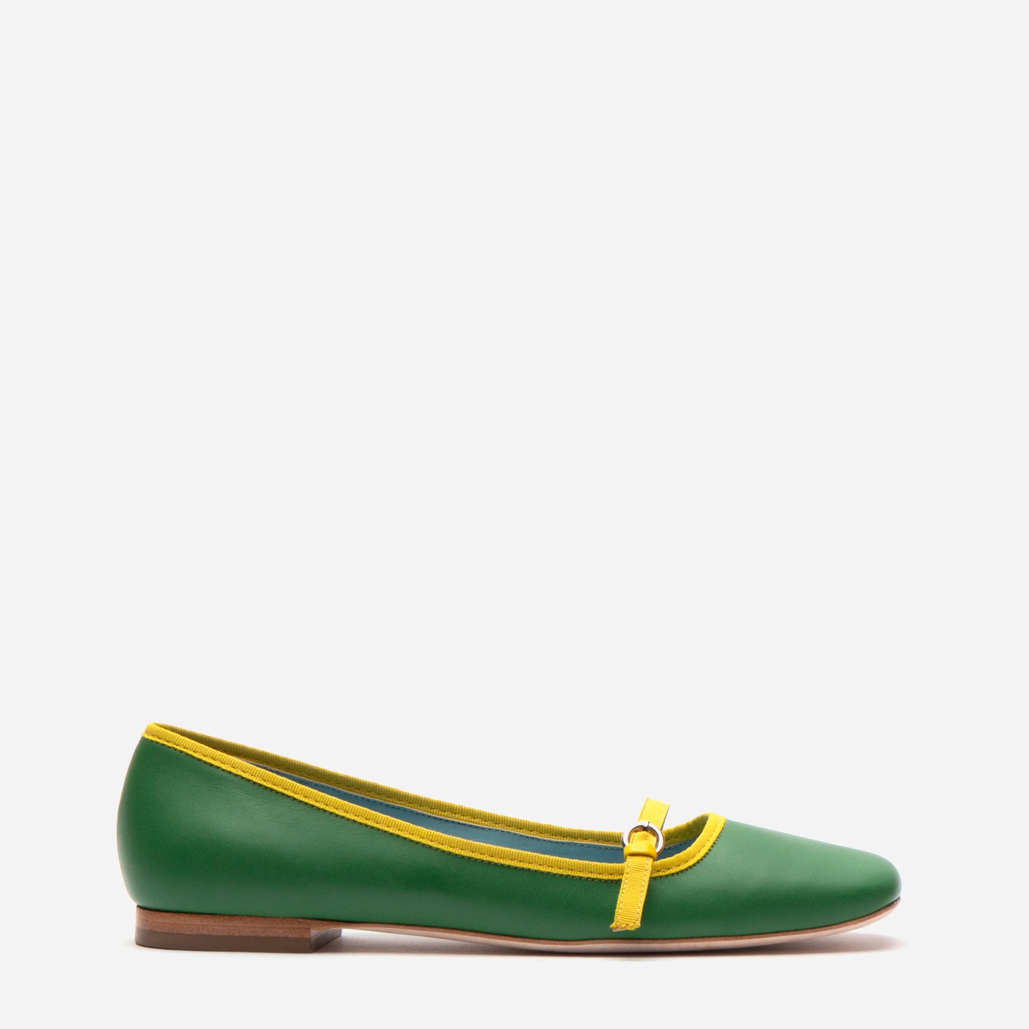 Josie Leather Flat Green Yellow - Frances Valentine