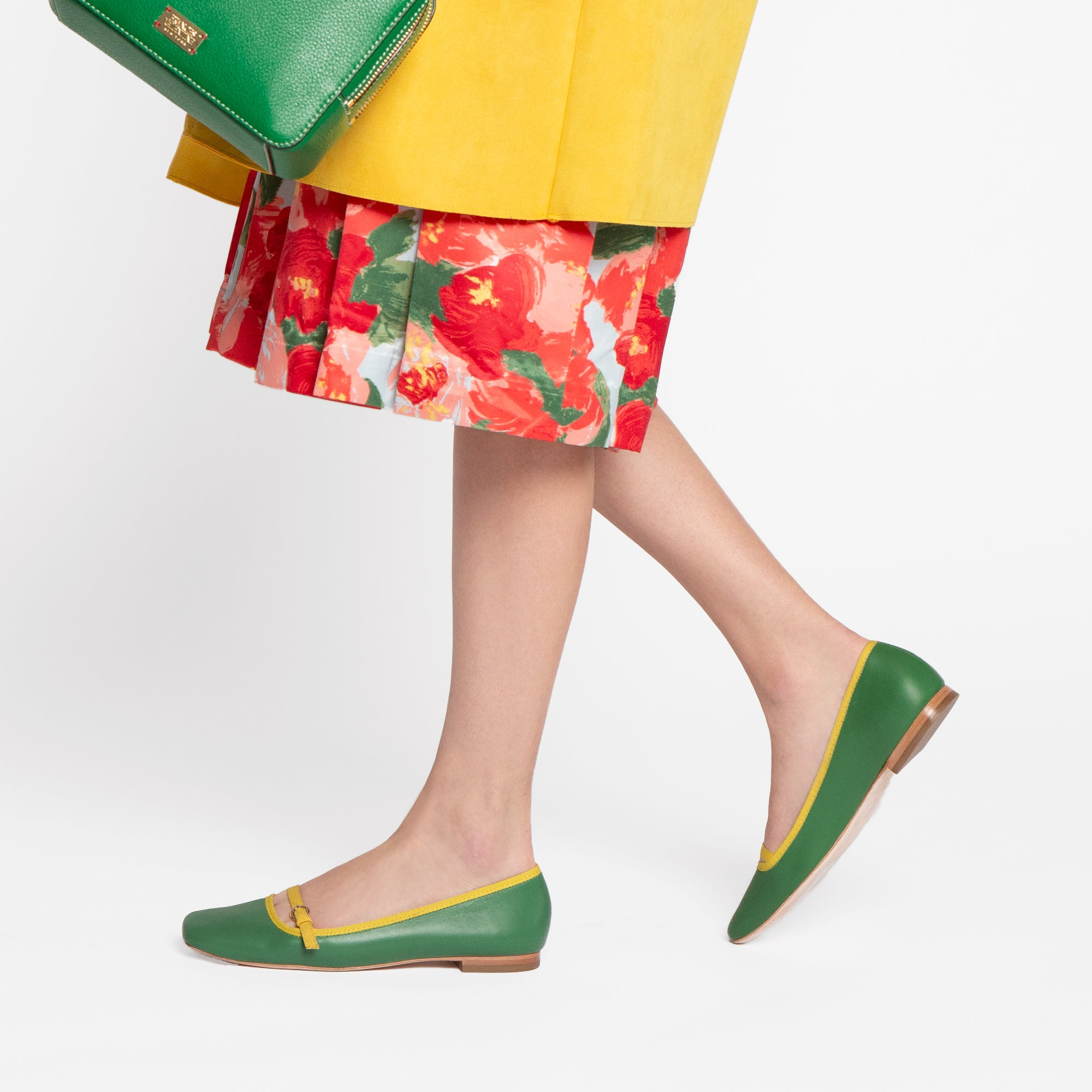 Josie Leather Flats Green Yellow