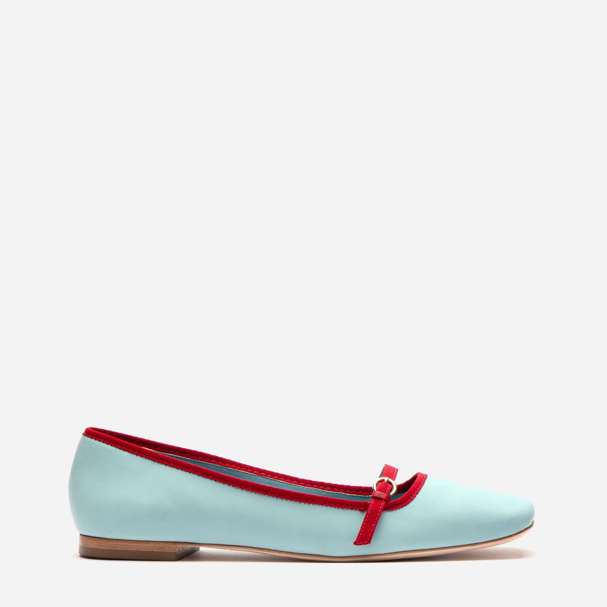 Josie Leather Flat Light Blue Red - Frances Valentine