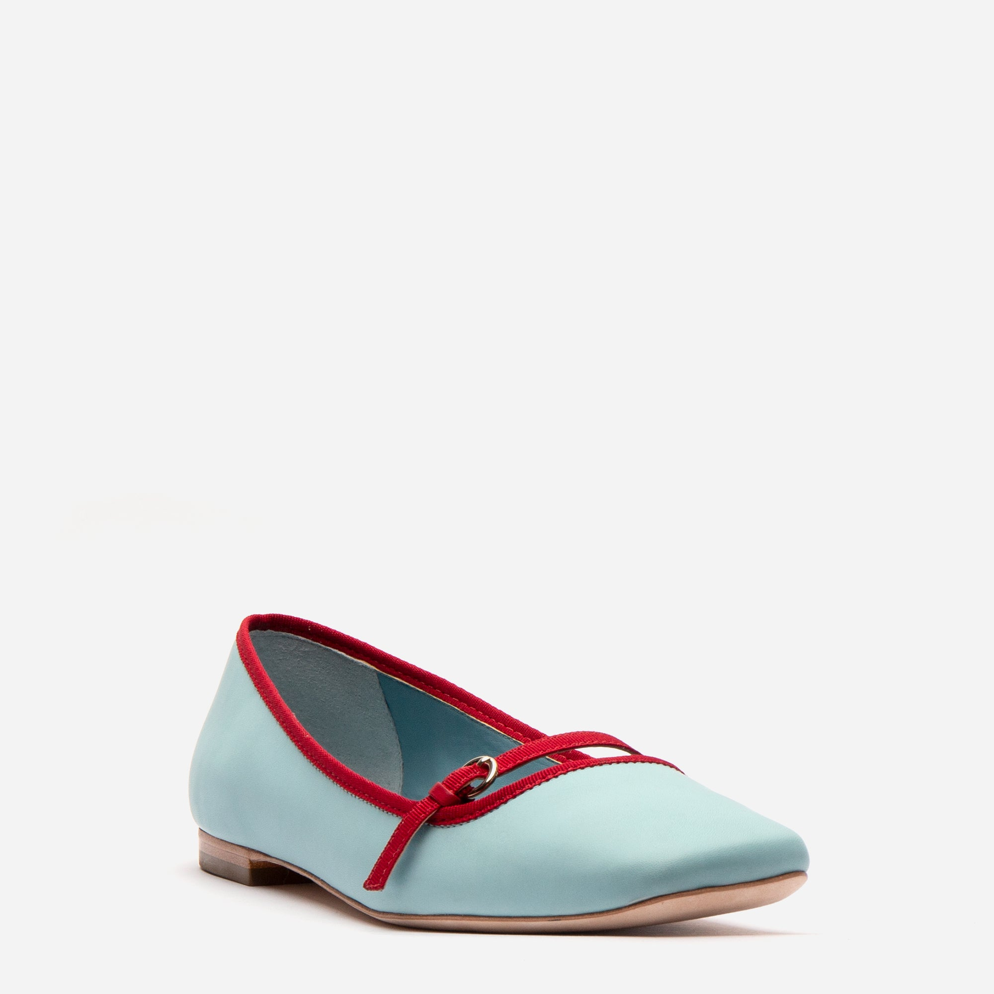 Josie Leather Flats Light Blue Red