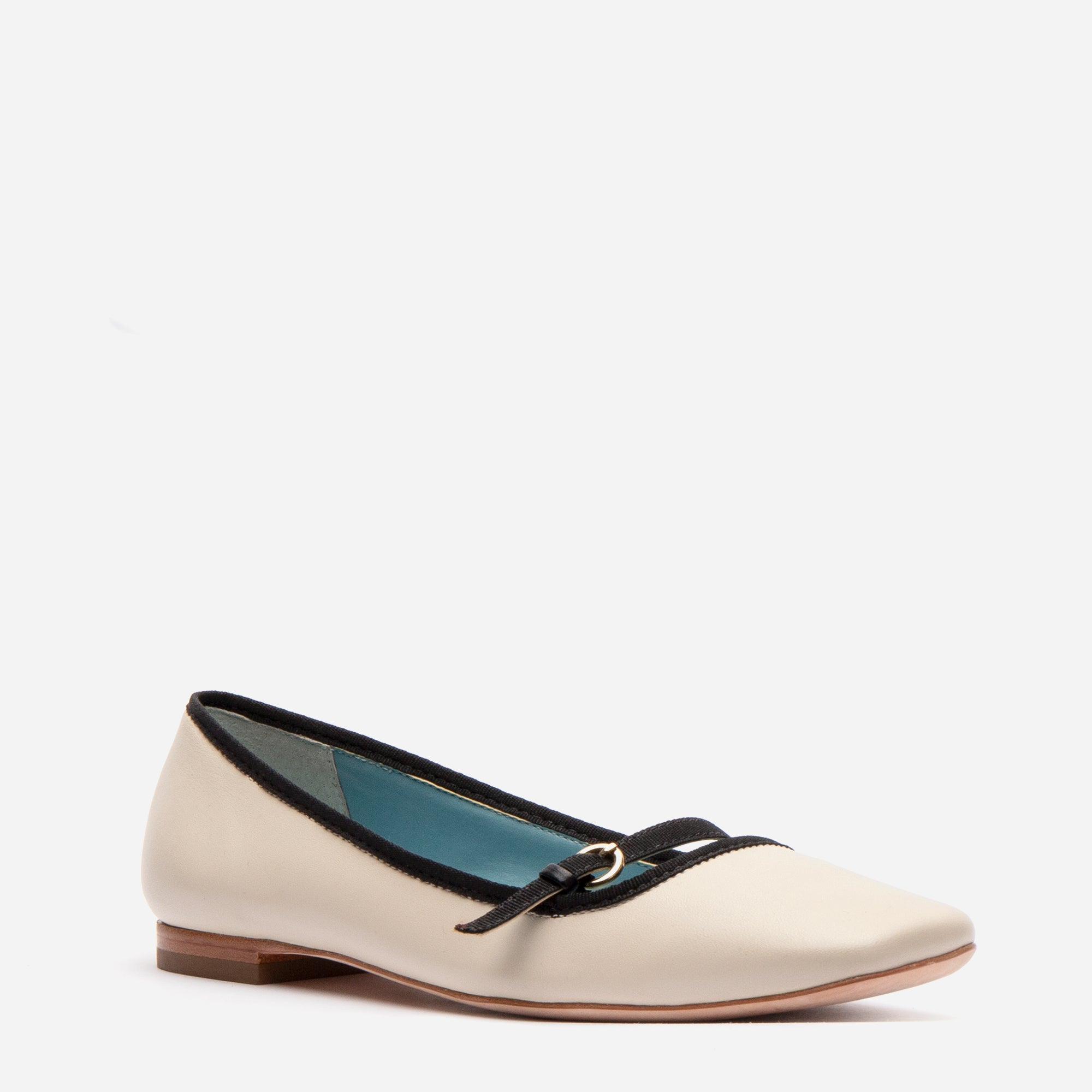 Josie Leather Flats Oyster Black