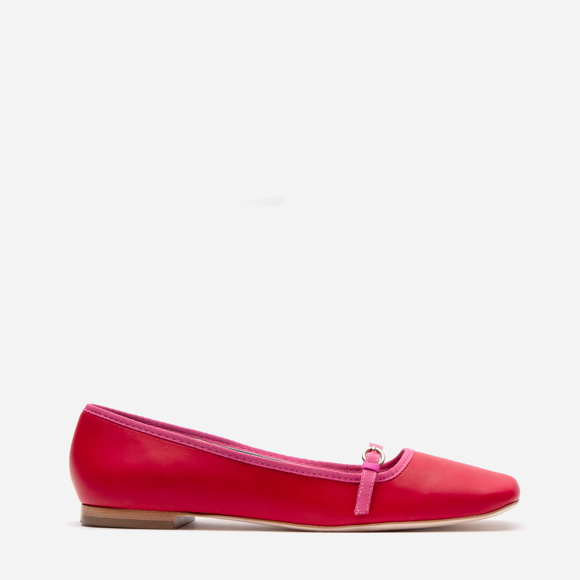 Josie Leather Flat Red Pink
