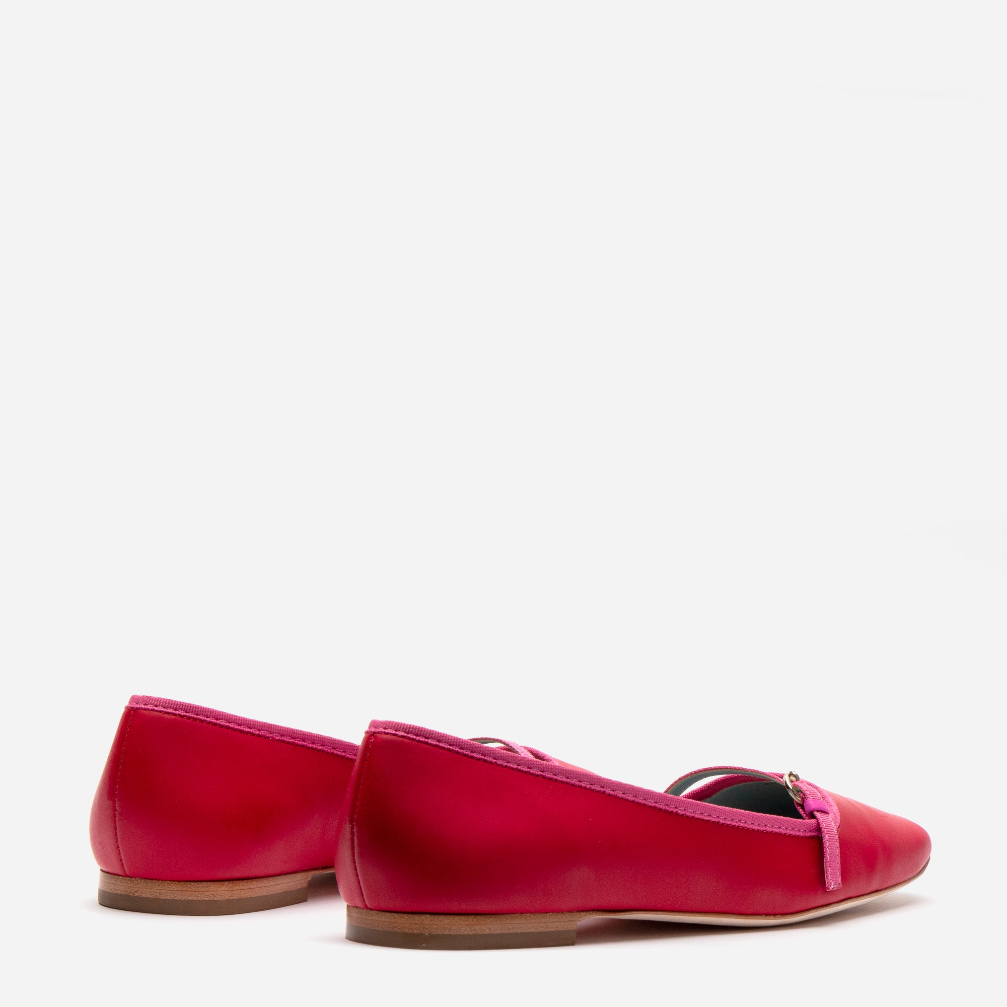 Josie Leather Flats Red Pink