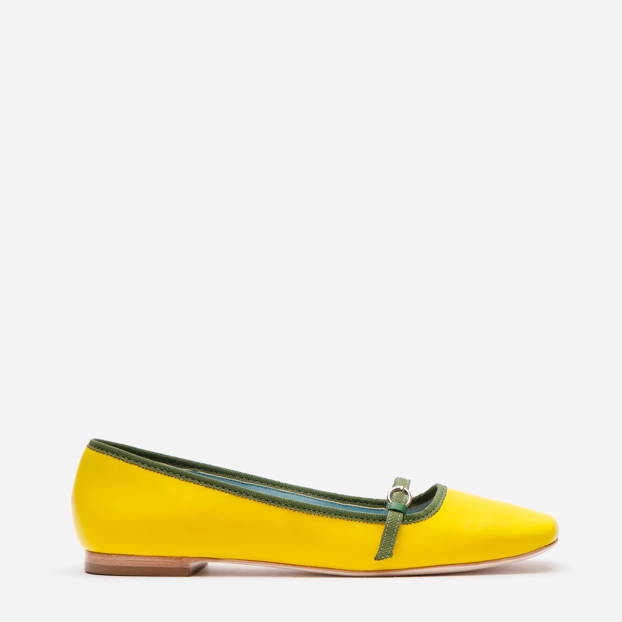 Josie Leather Flat Yellow Green