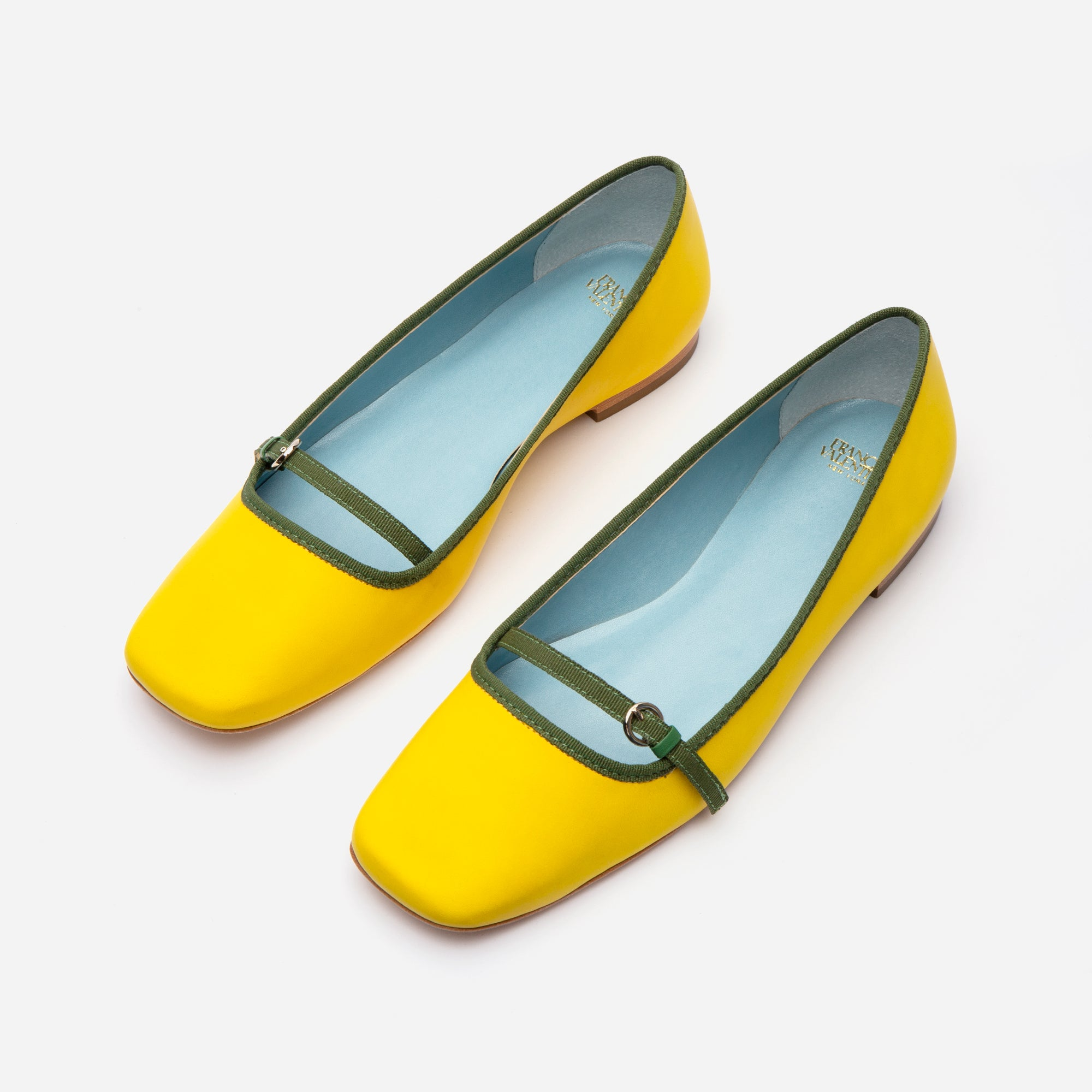Josie Leather Flats Yellow Green