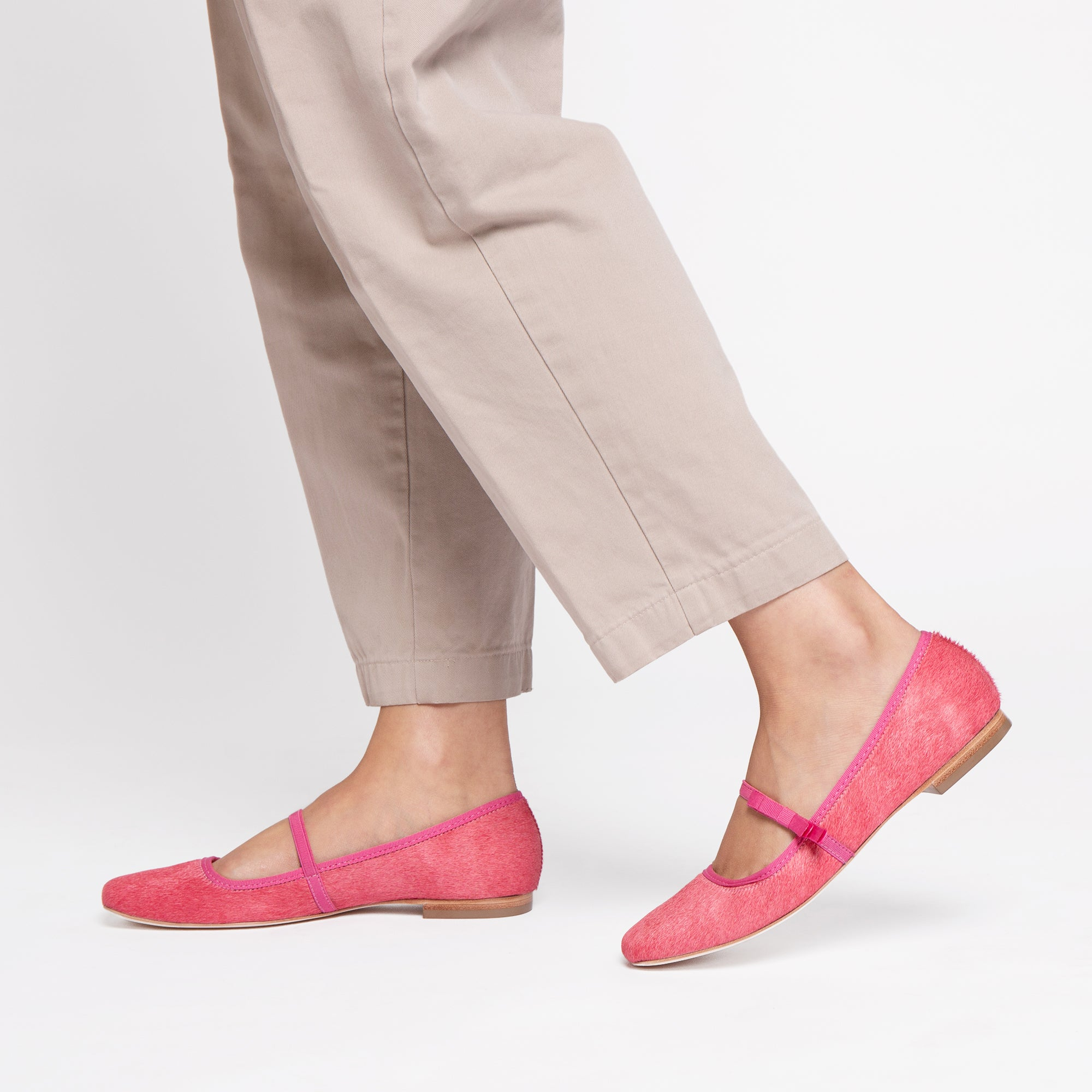 Jude Mary Jane Flat Pink Haircalf