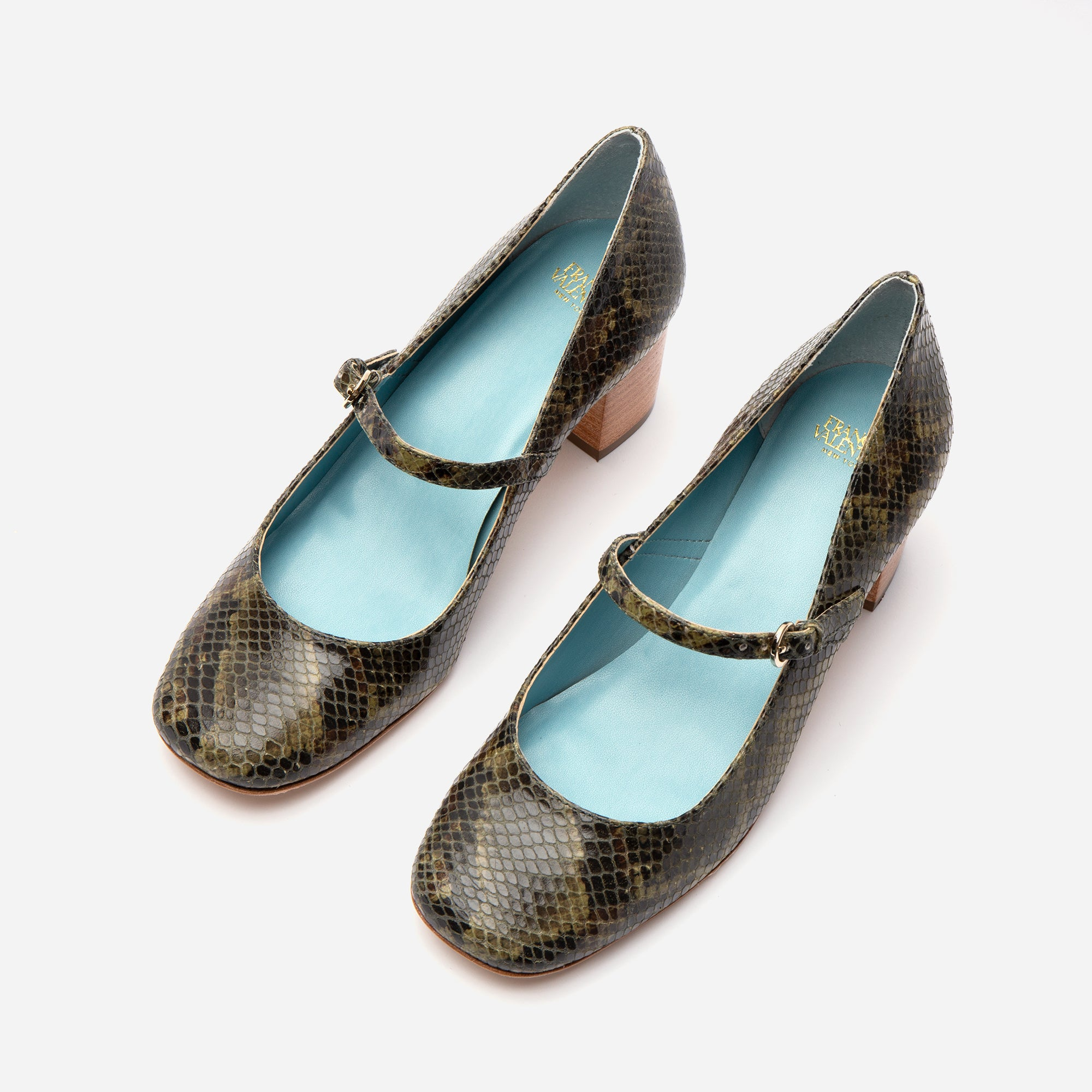 Kat Mary Jane Heels Snake Printed Leather Olive