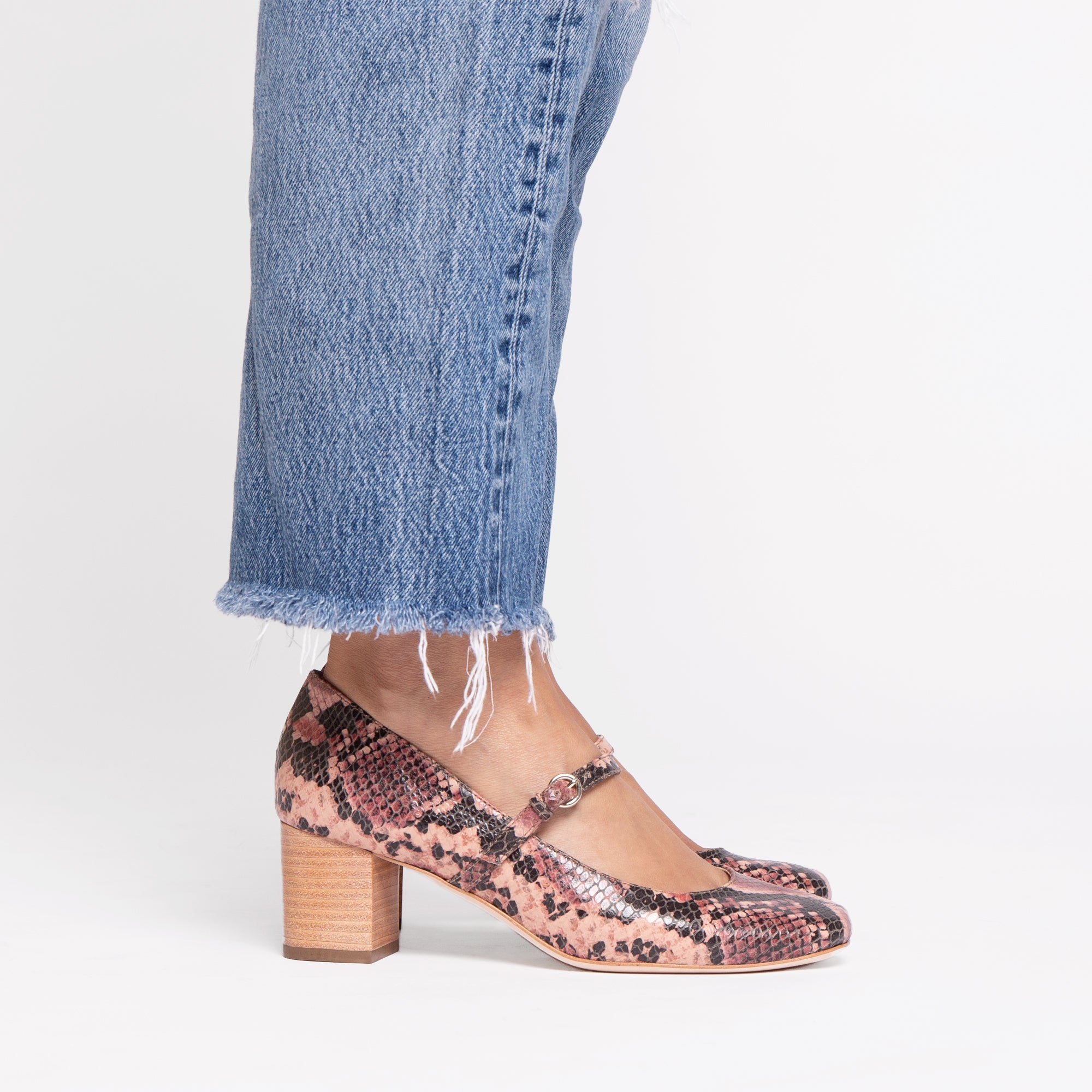 Kat Mary Jane Heels Snake Printed Leather Pink