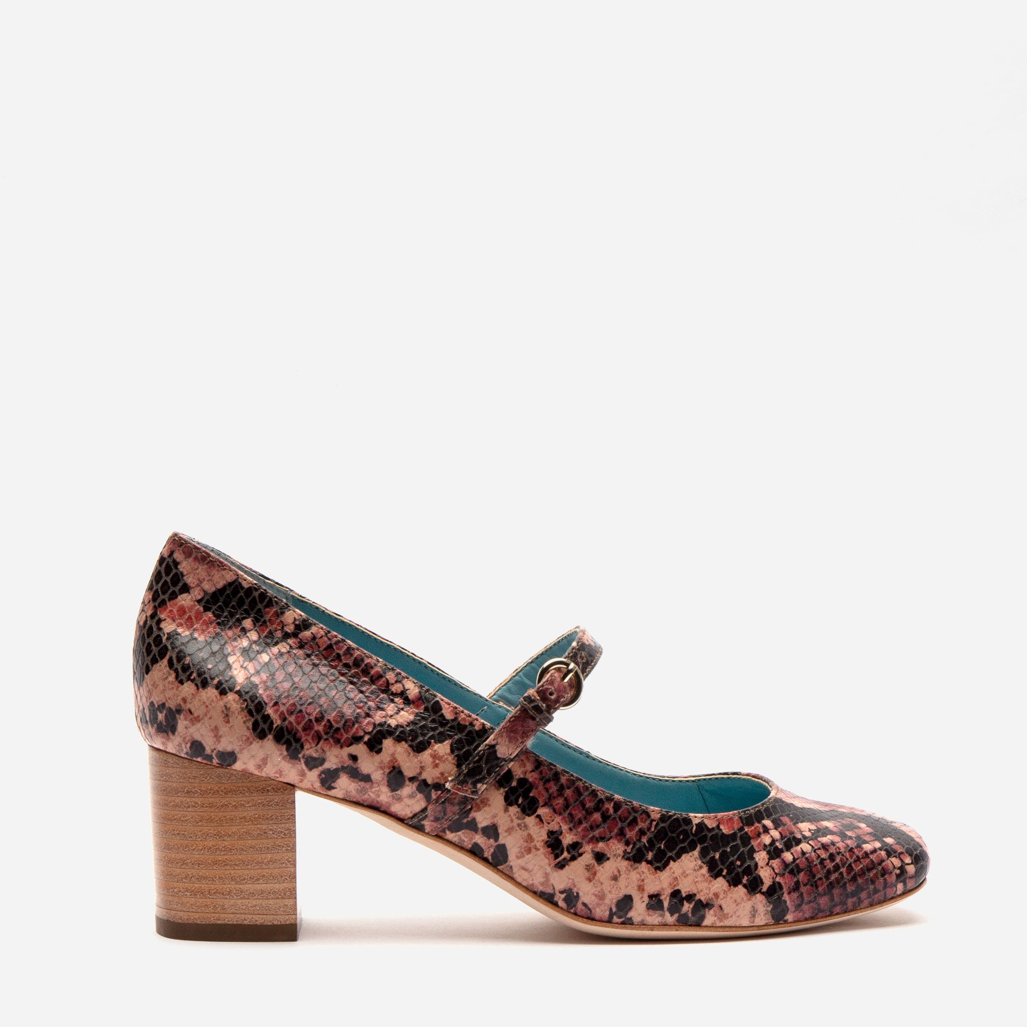 Kat Mary Jane Heels Snake Printed Leather Pink - Frances Valentine