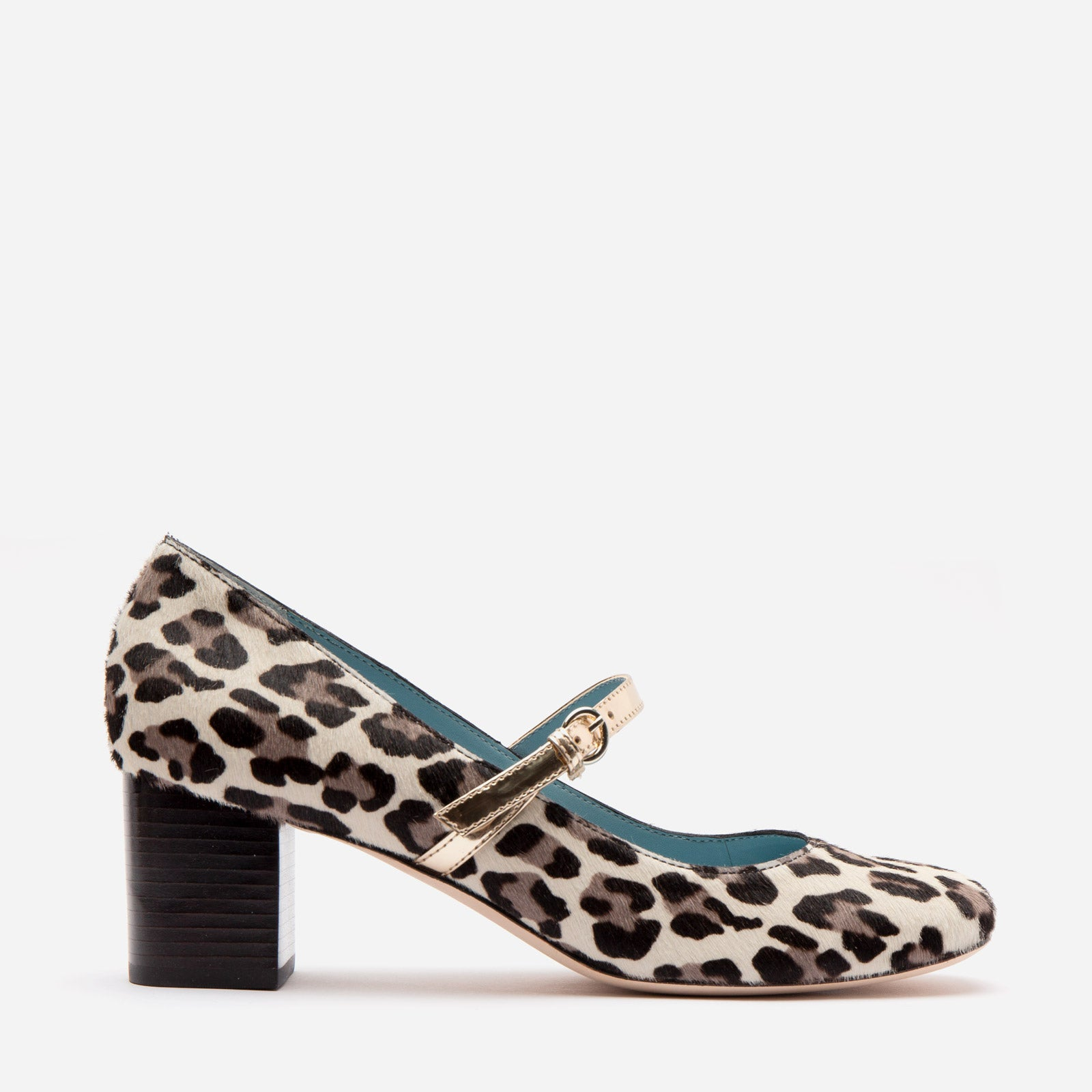 Kat Mary Jane Heel Printed Haircalf Snow Leopard