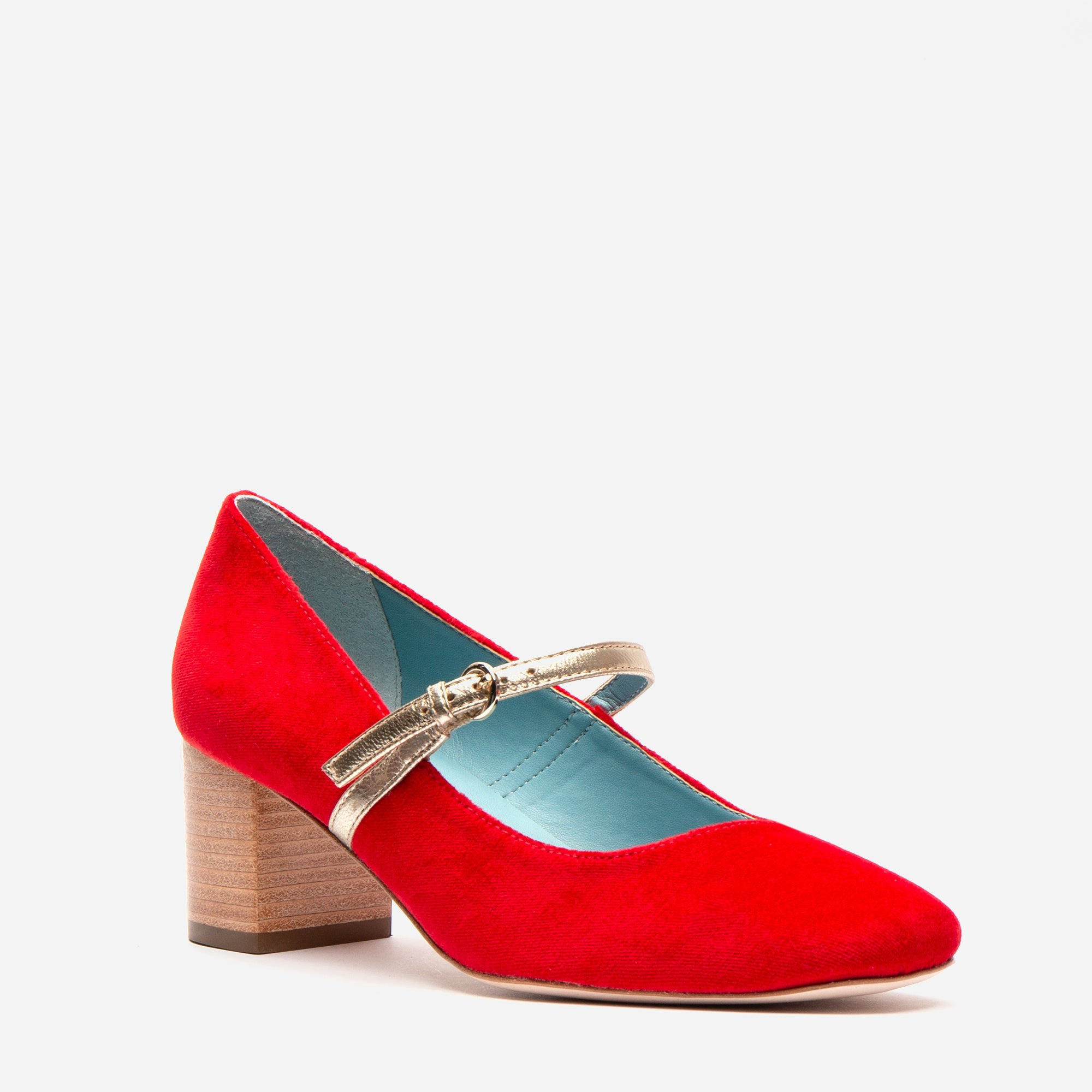 Kat Mary Jane Heels Velvet Red