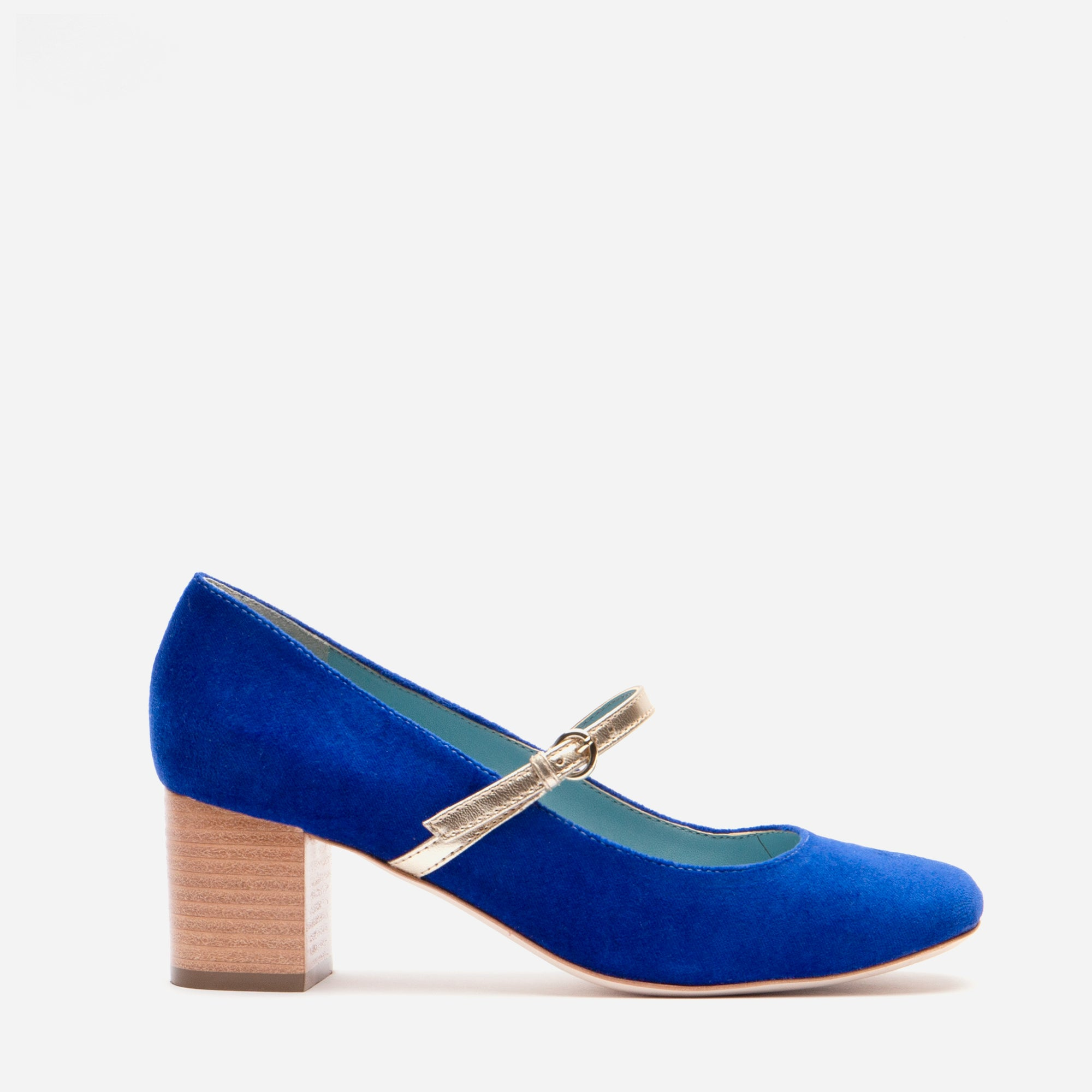 Kat Mary Jane Heels Velvet Royal