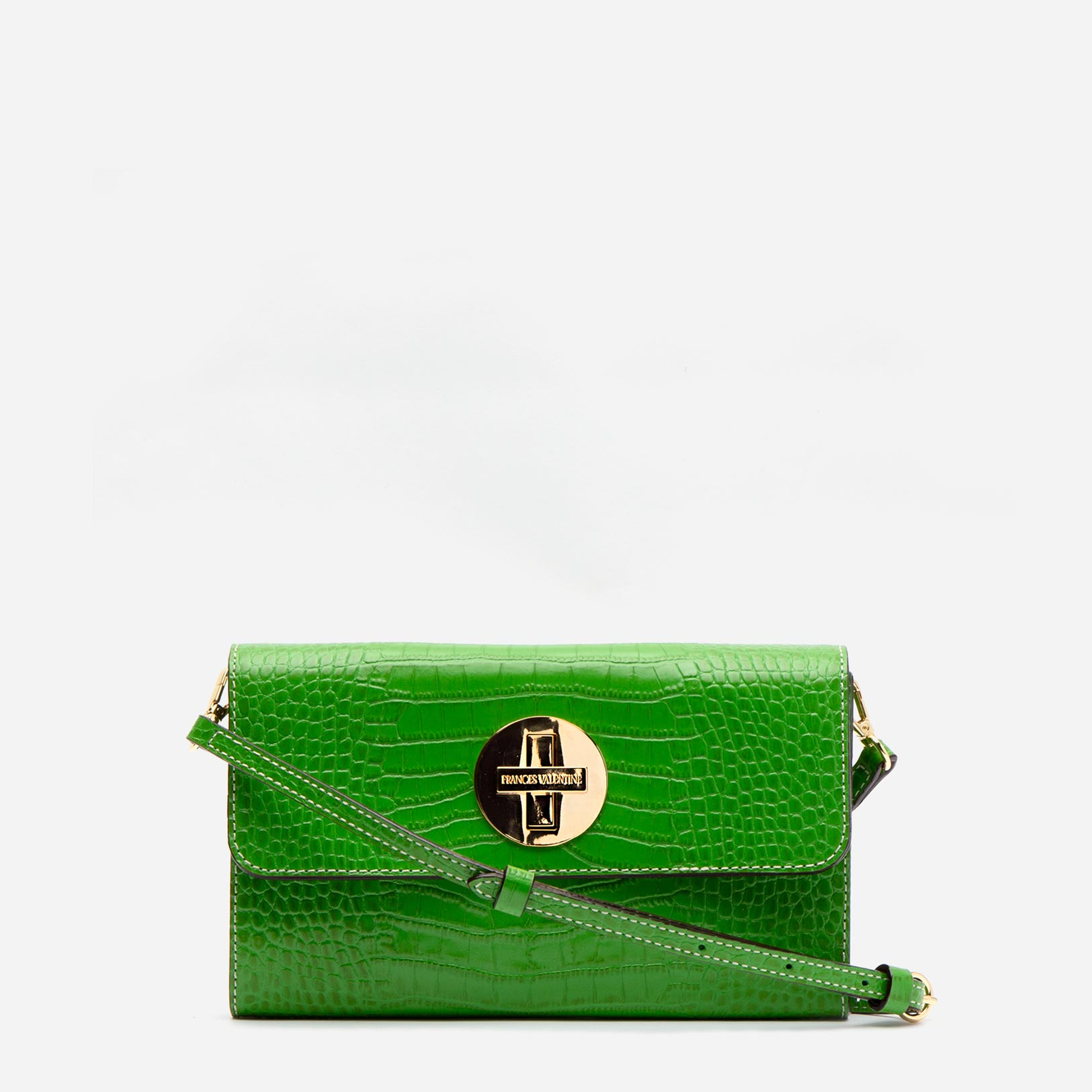 Kelly Crossbody Clutch Croc Embossed Leather Green - Frances Valentine