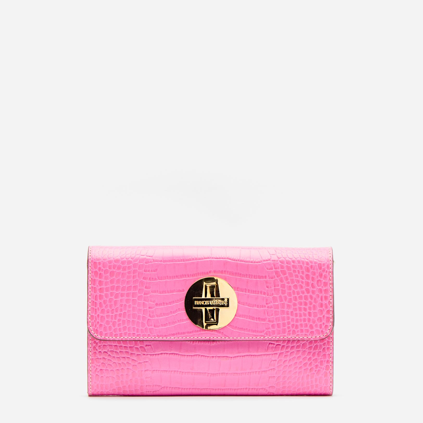Kelly Crossbody Clutch Croc Embossed Leather Pink - Frances Valentine
