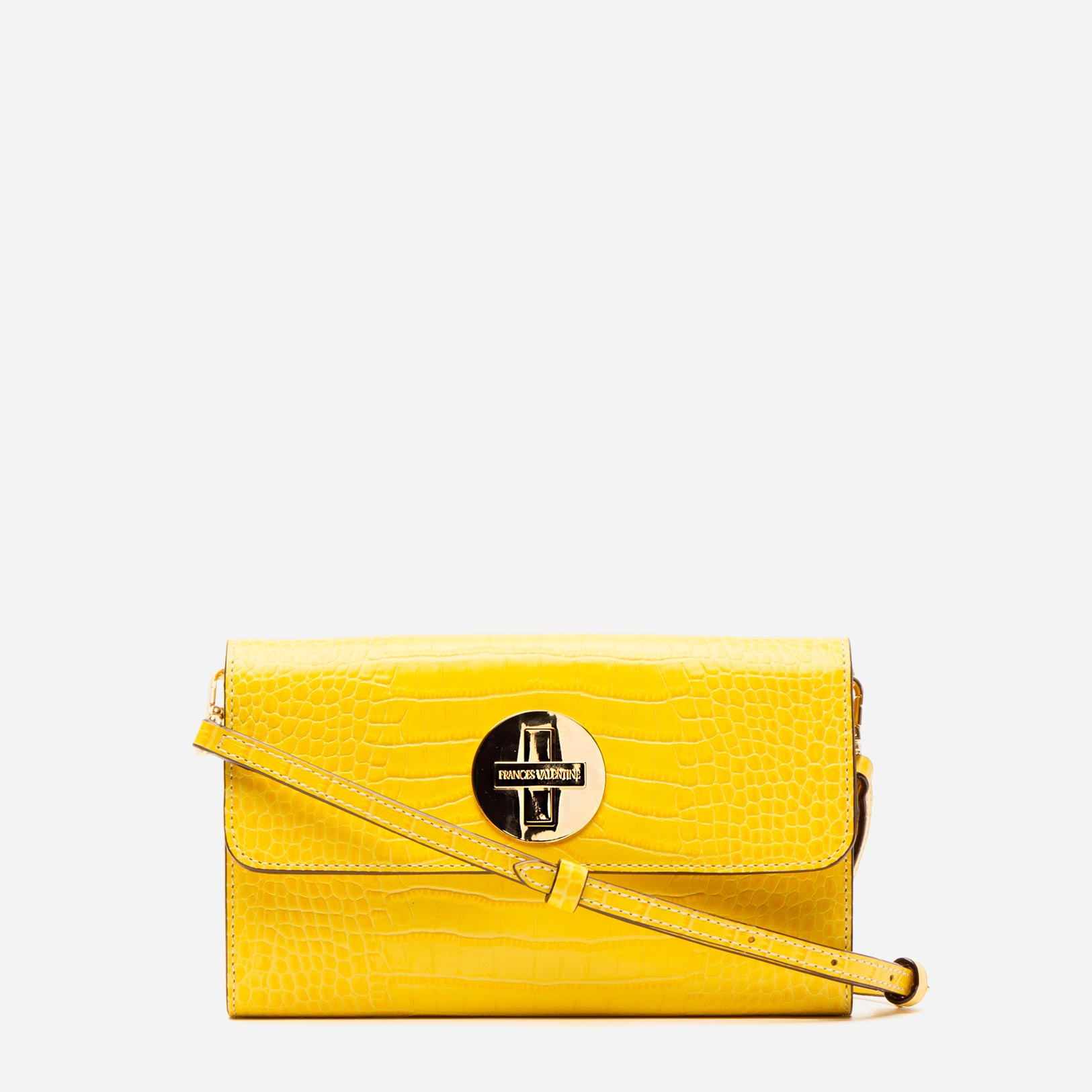 Kelly Crossbody Clutch Croc Embossed Leather Yellow