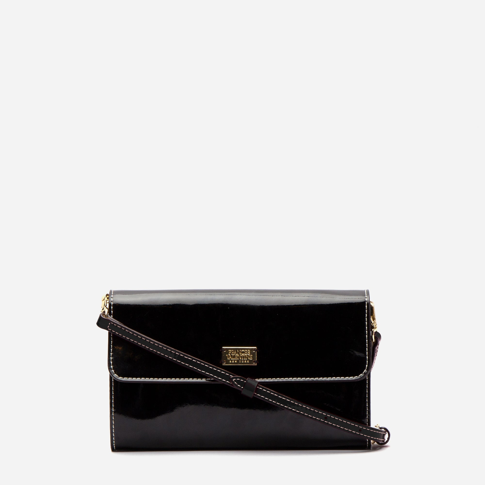 Kelly Crossbody Clutch Soft Patent Black Oyster