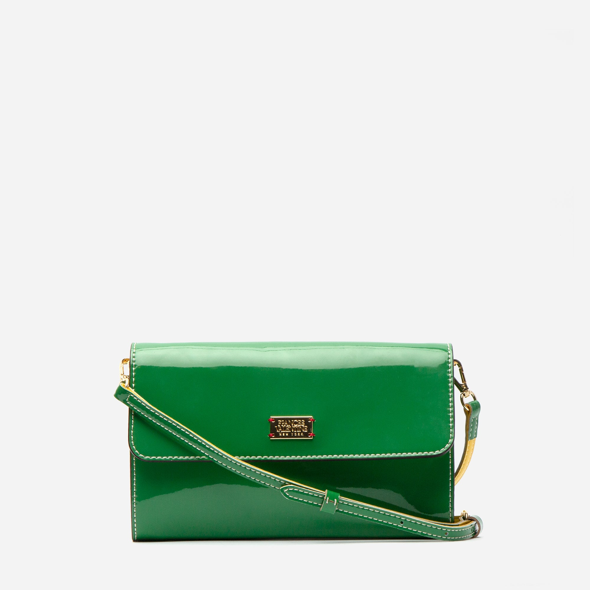 Kelly Crossbody Clutch Soft Patent Green Yellow - Frances Valentine