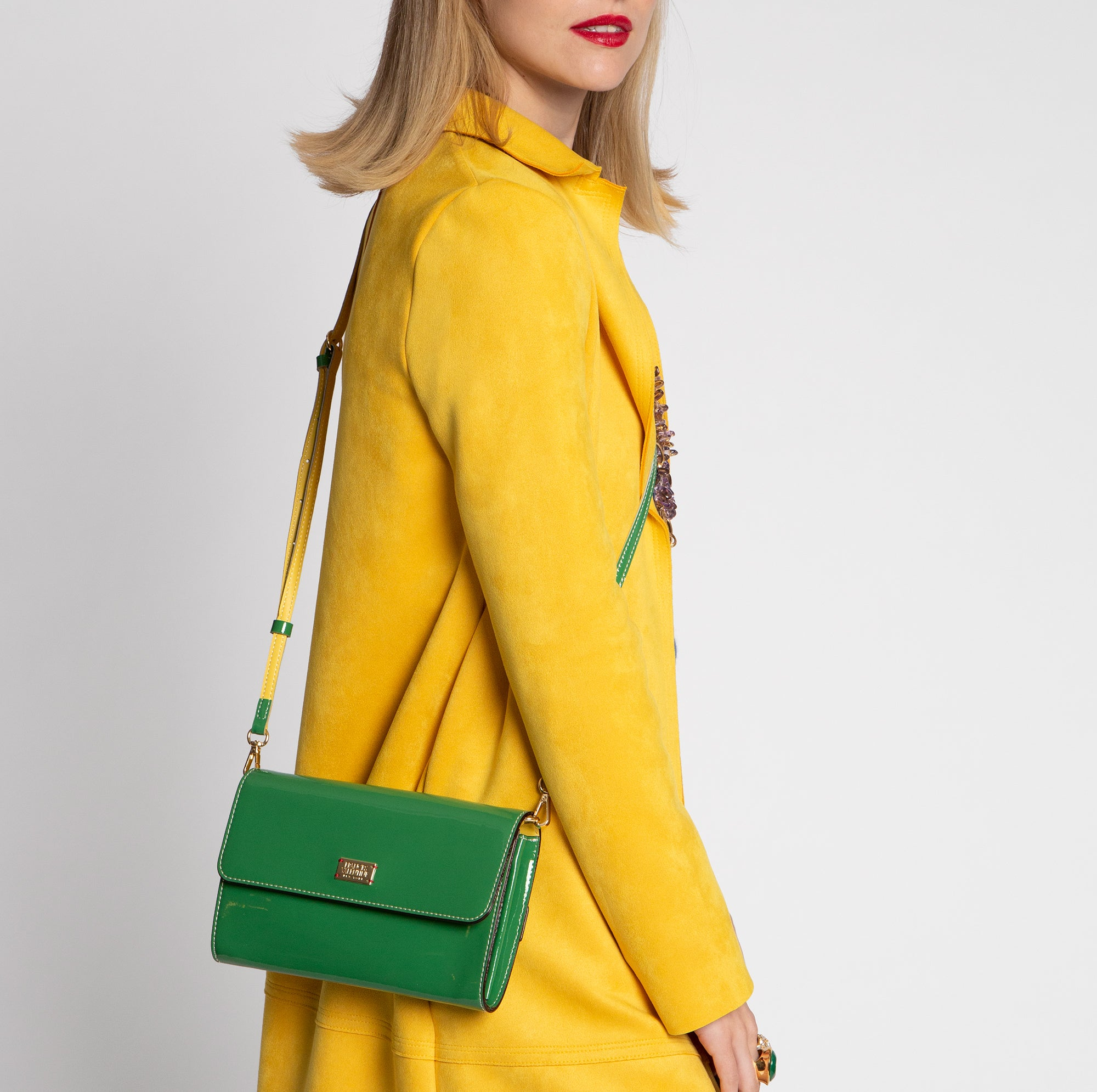 Kelly Crossbody Clutch Soft Patent Green Yellow