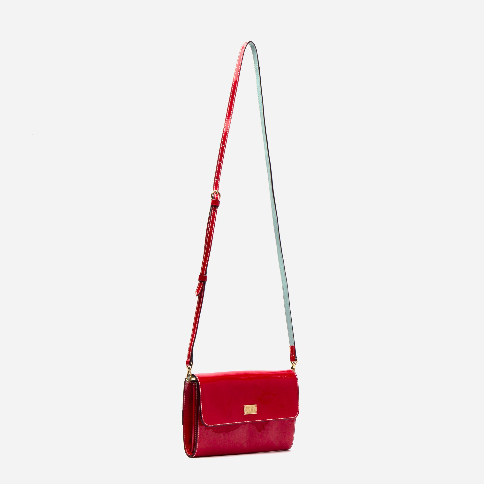 Kelly Crossbody Clutch Soft Patent Red Light Blue