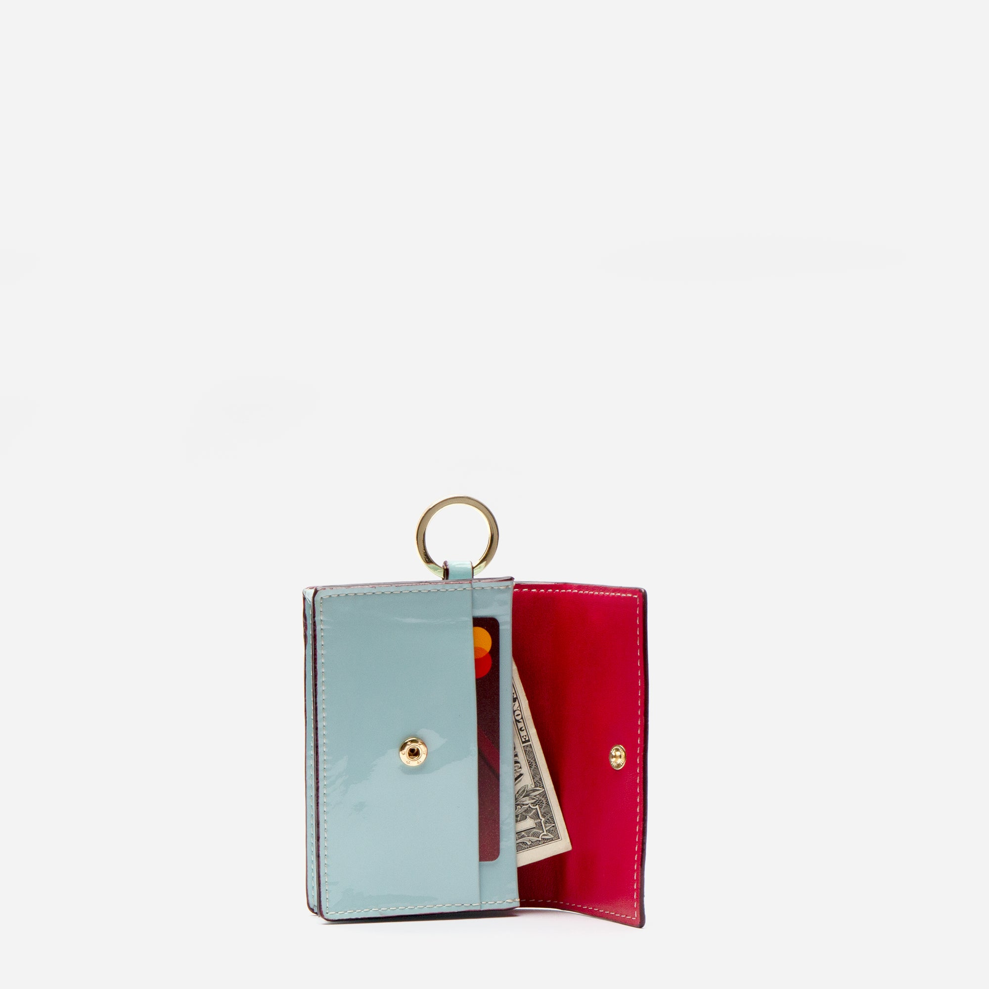 Key Fob Soft Patent Light Blue Red