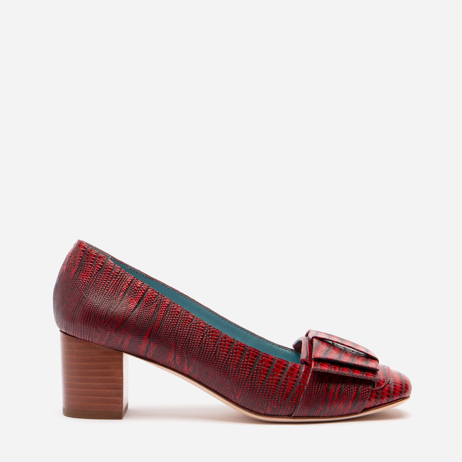 Kit Mary Jane Heels Lizard Printed Leather Red - Frances Valentine