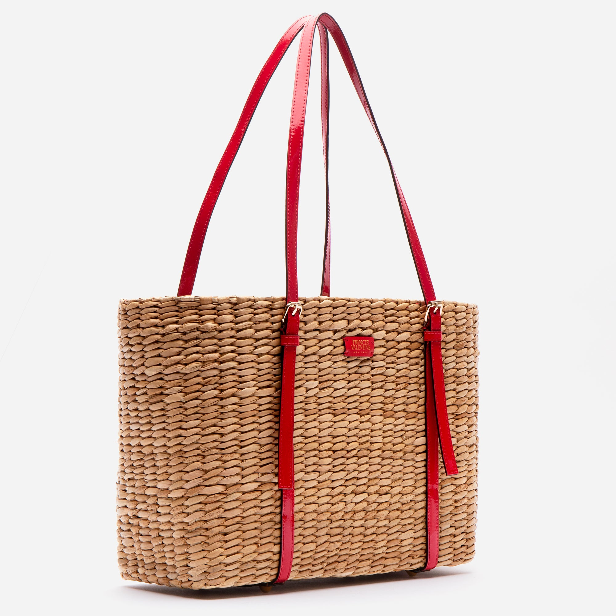 Large Woven Basket Tote Patent Red