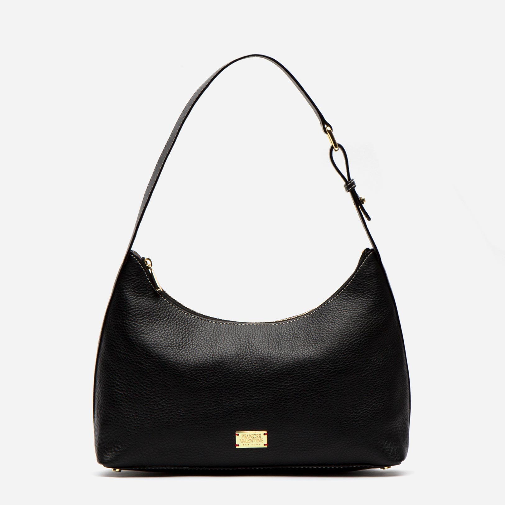 Laura Hobo Tumbled Leather Black - Frances Valentine