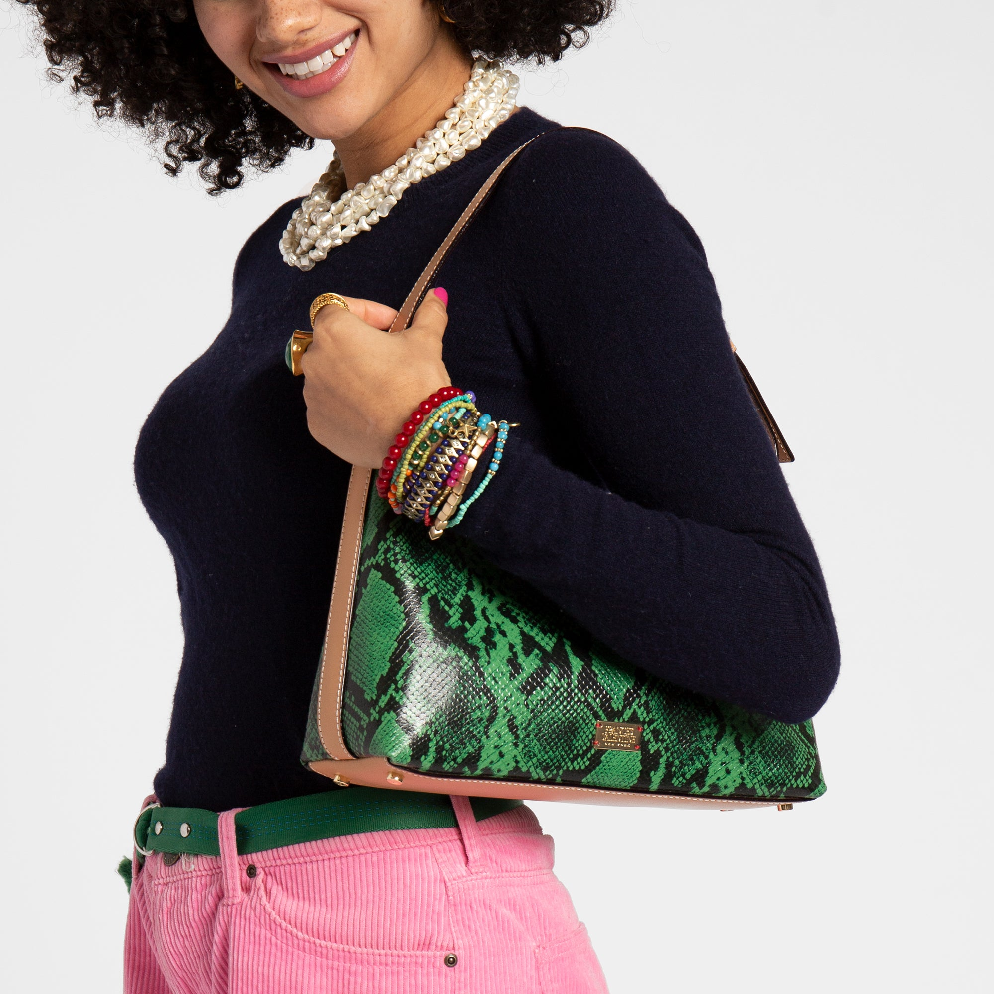 Laura Hobo Snake Embossed Leather Green