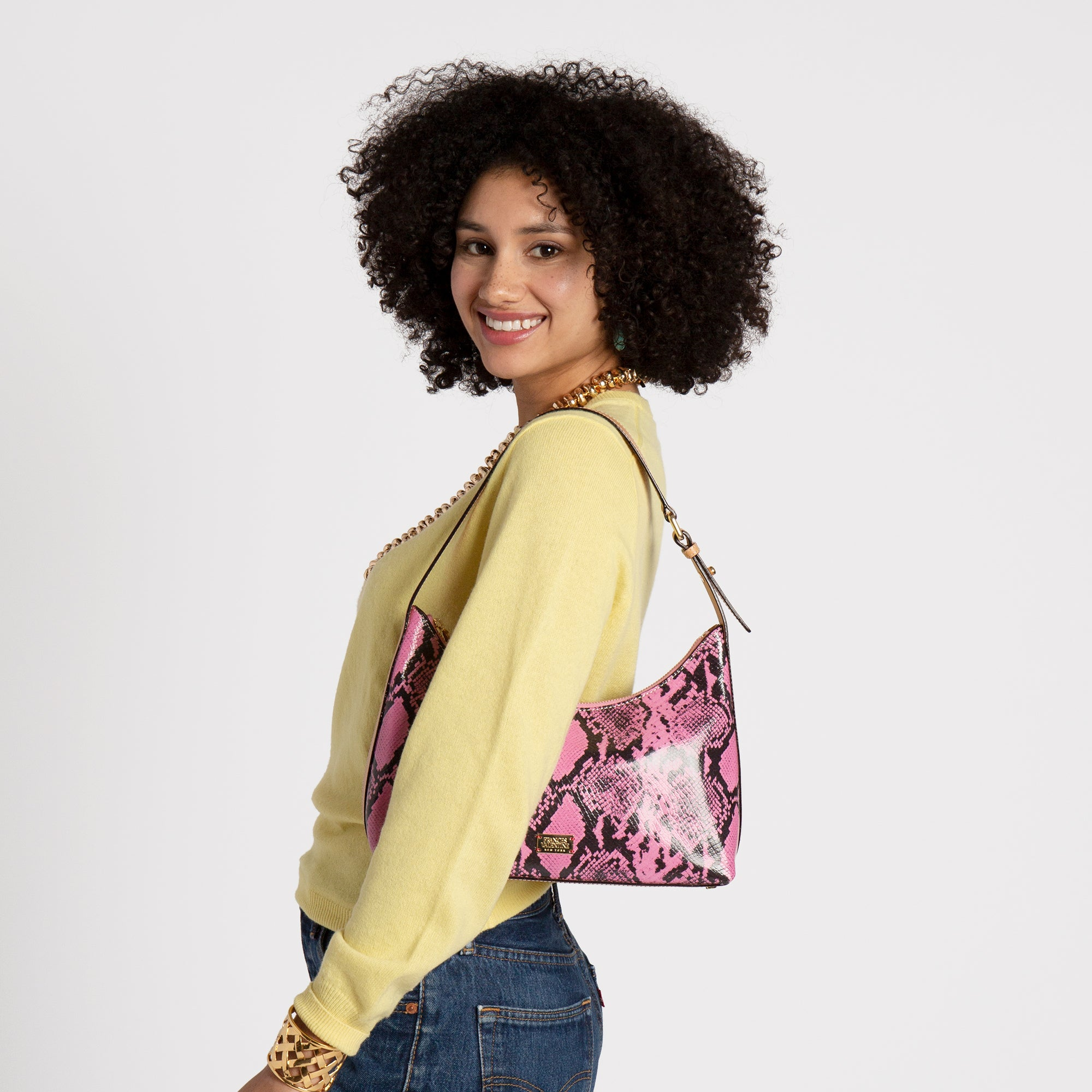 Laura Hobo Snake Embossed Leather Pink