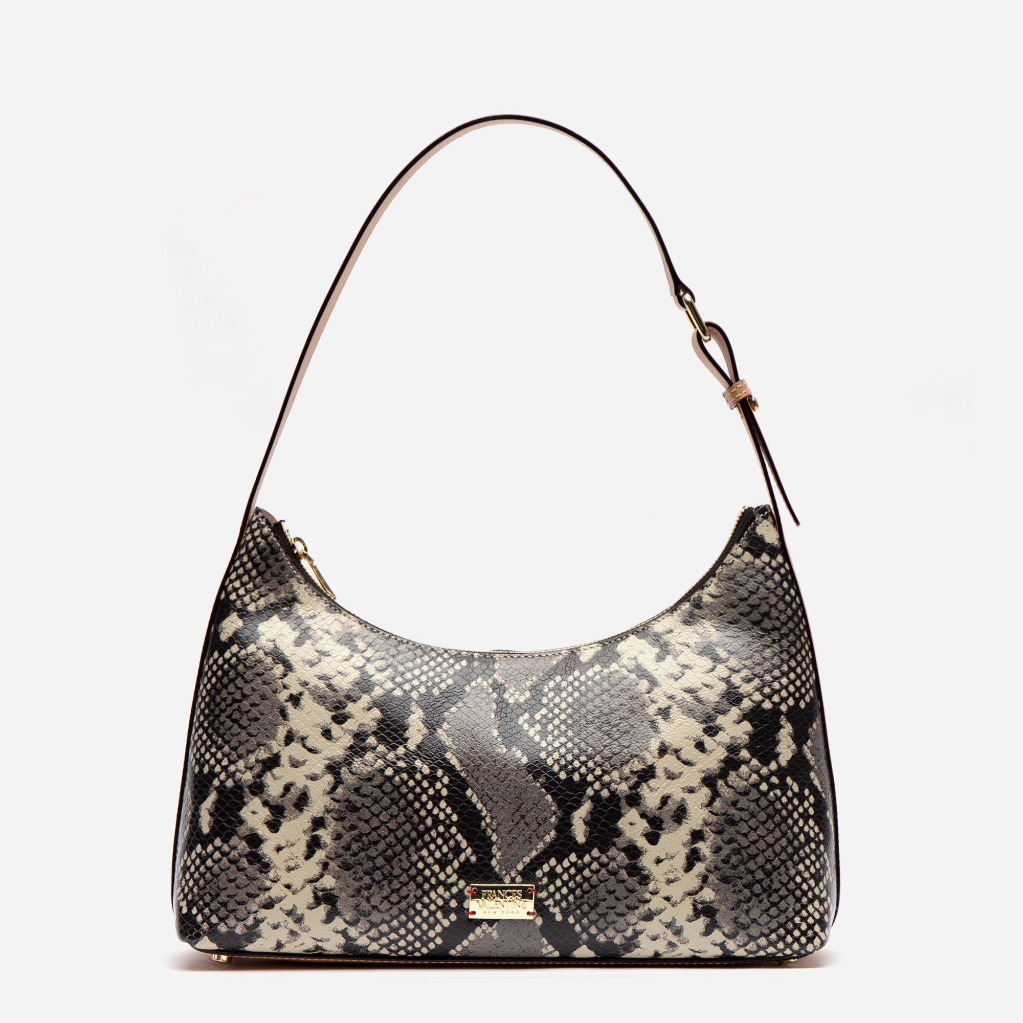 Laura Hobo Snake Embossed Leather Roccia - Frances Valentine