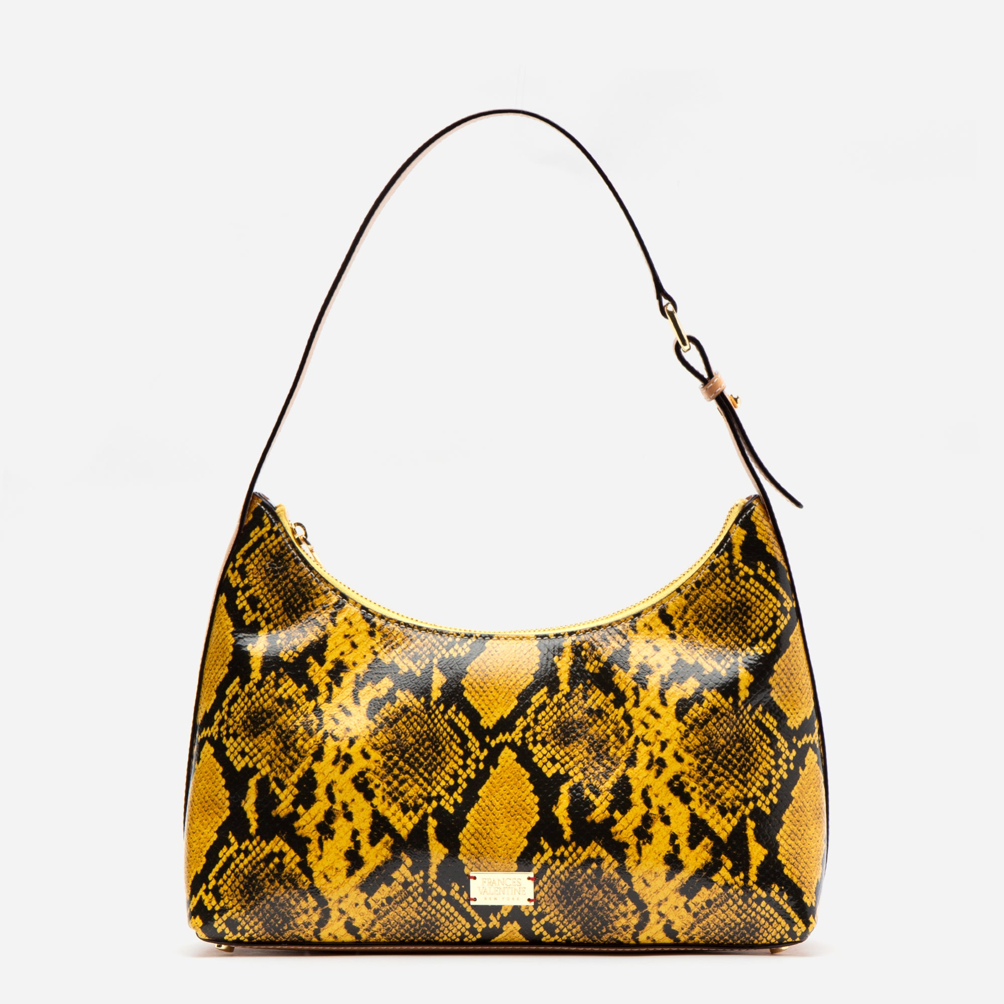Laura Hobo Snake Embossed Leather Yellow - Frances Valentine