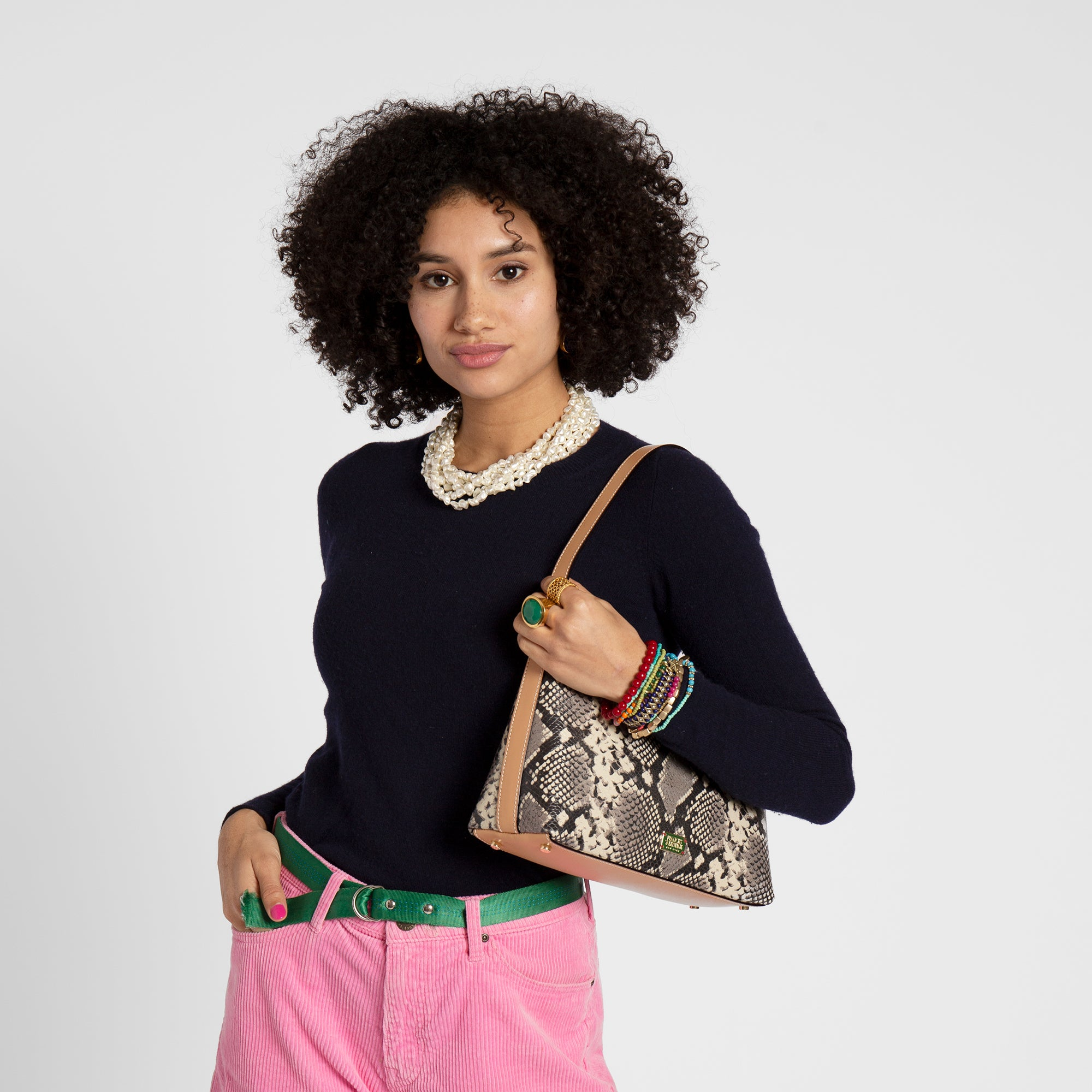 Laura Hobo Snake Embossed Leather Roccia