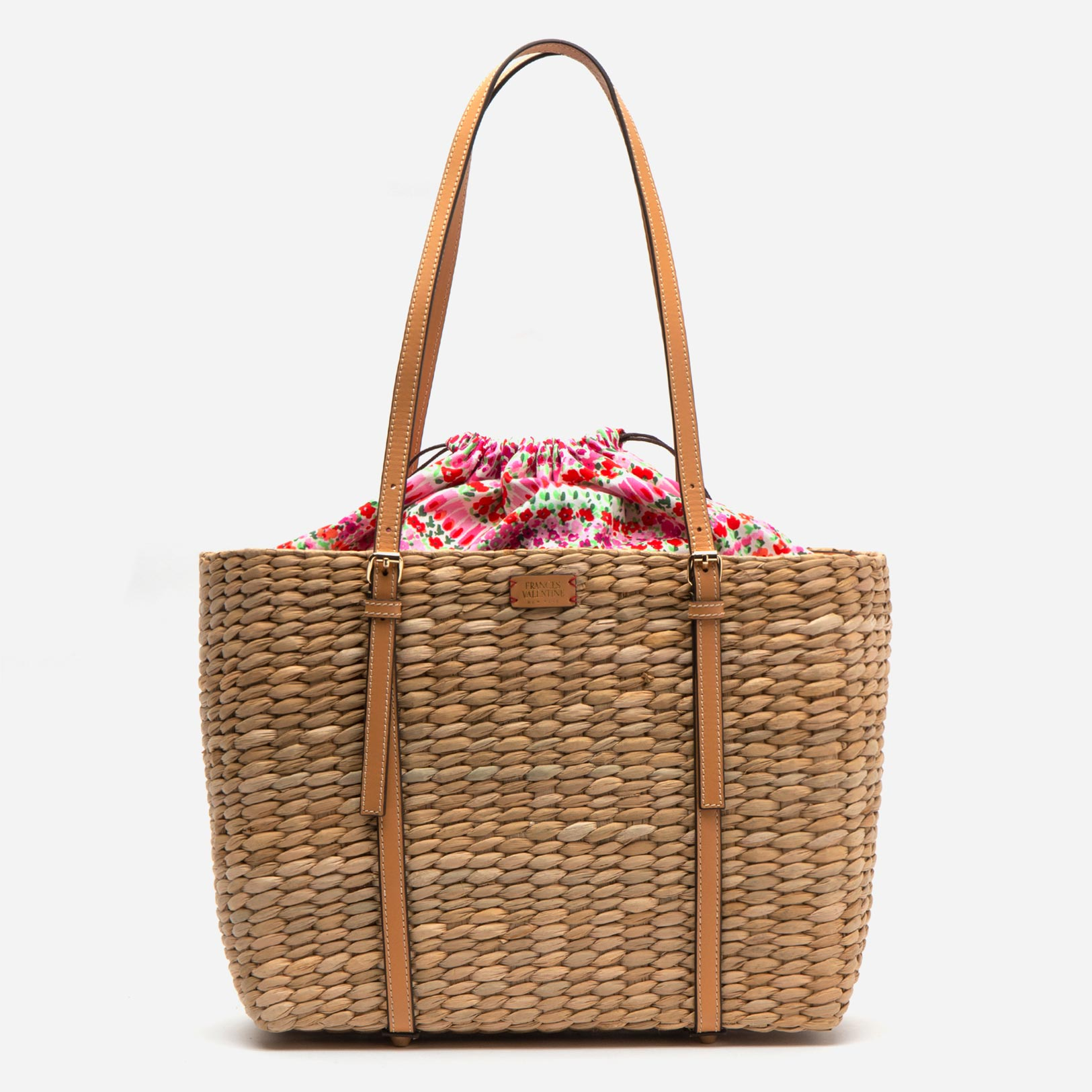 Large Woven Tote Natural Vachetta - Frances Valentine