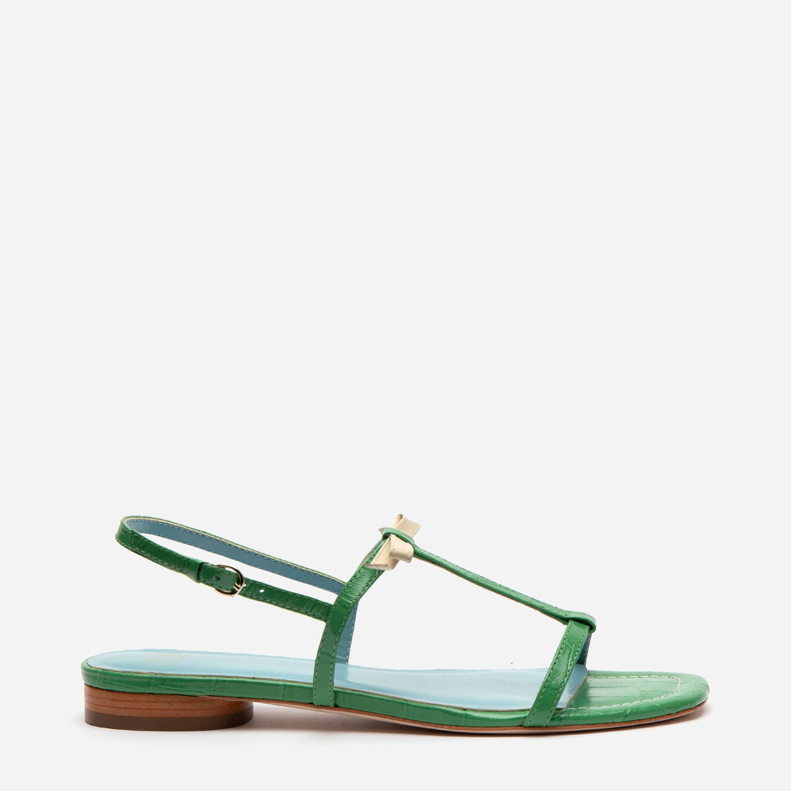 Lily Croc Leather Sandal Green