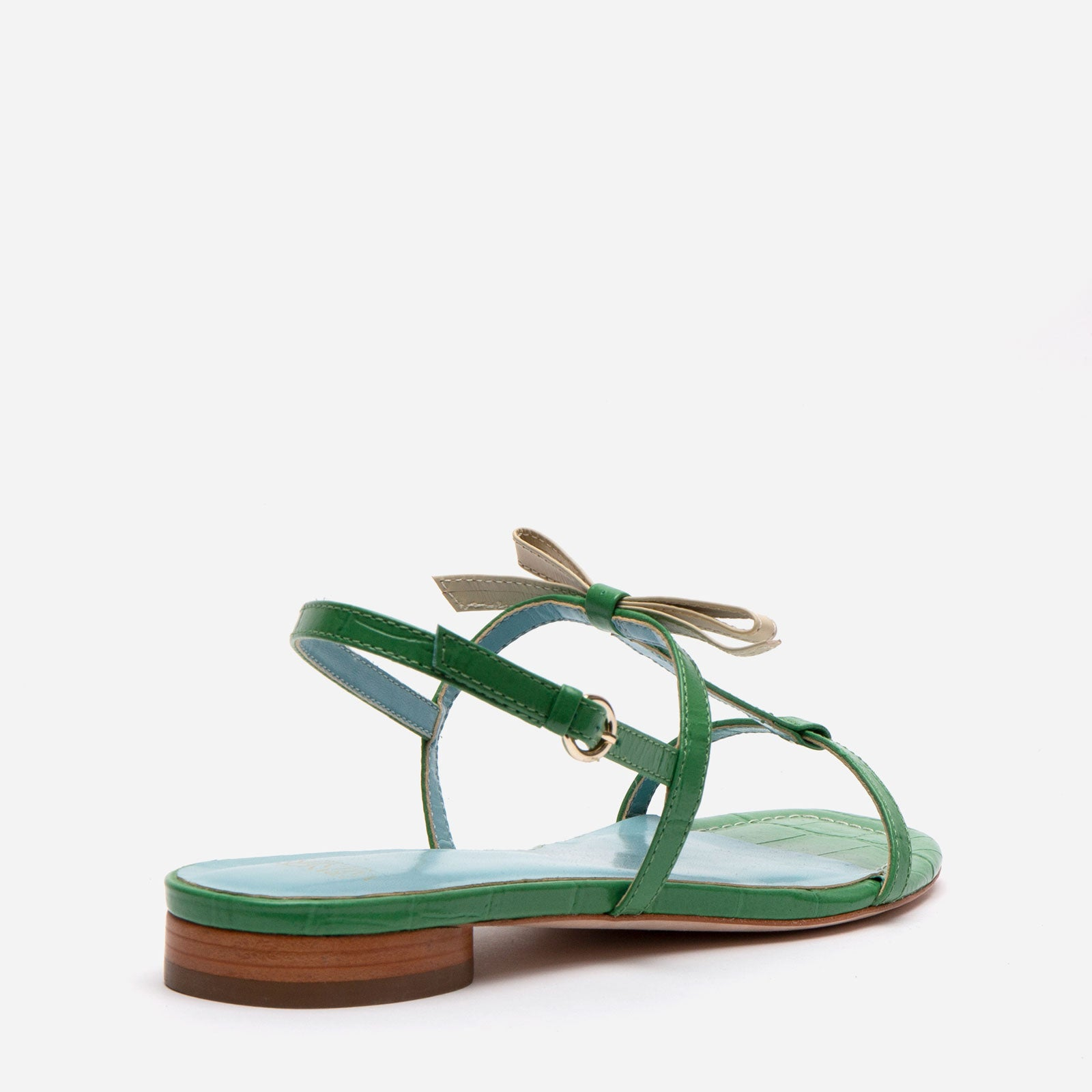 Lily Croc Embossed Leather Slingback Sandal Green