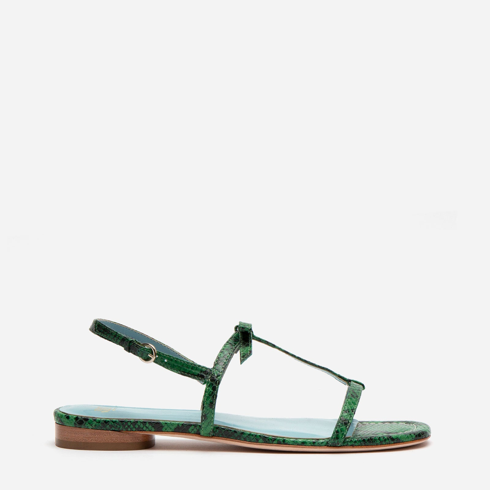 Lily Snake Embossed Leather Sandal Green - Frances Valentine