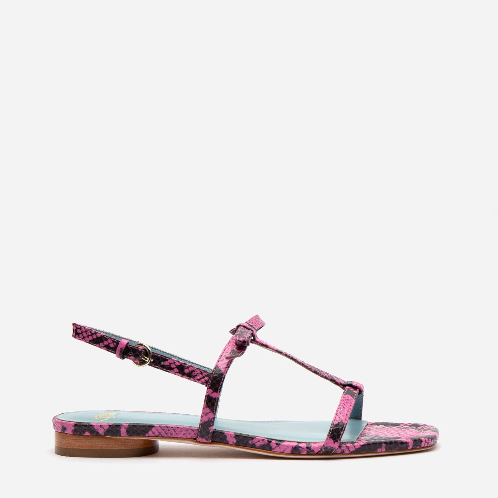 Lily Snake Embossed Leather Sandal Pink