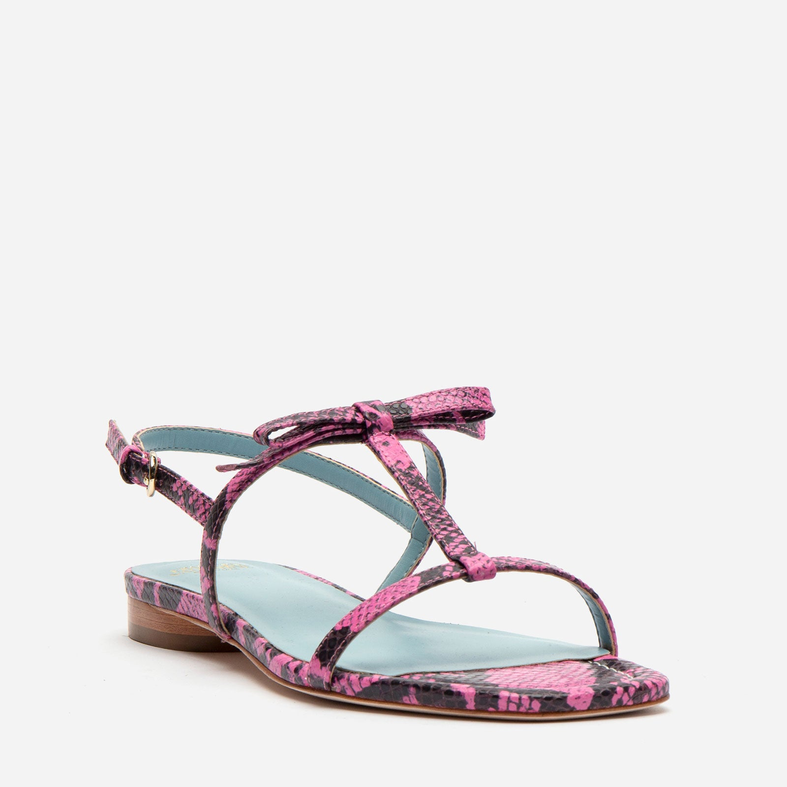 Lily Snake Embossed Leather Slingback Sandal Pink
