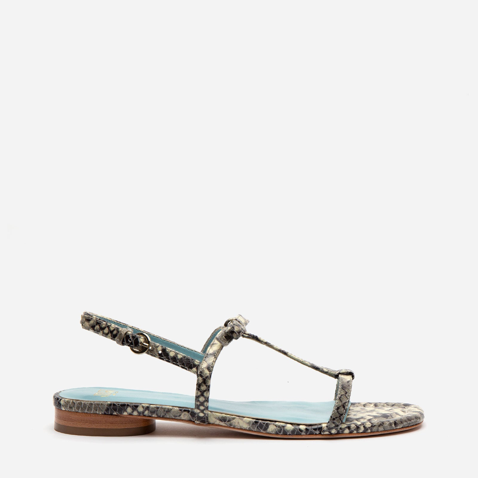 Lily Snake Embossed Leather Sandal Roccia