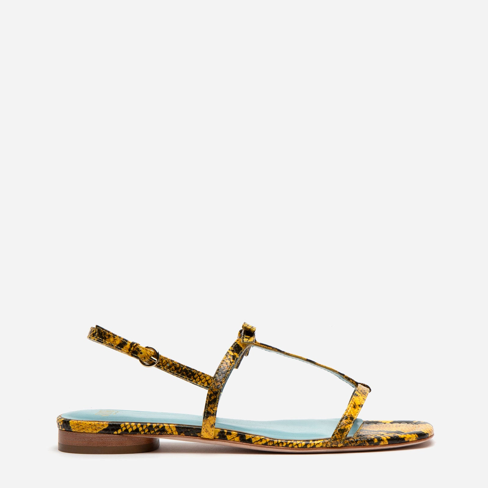 Lily Snake Embossed Leather Sandal Yellow - Frances Valentine